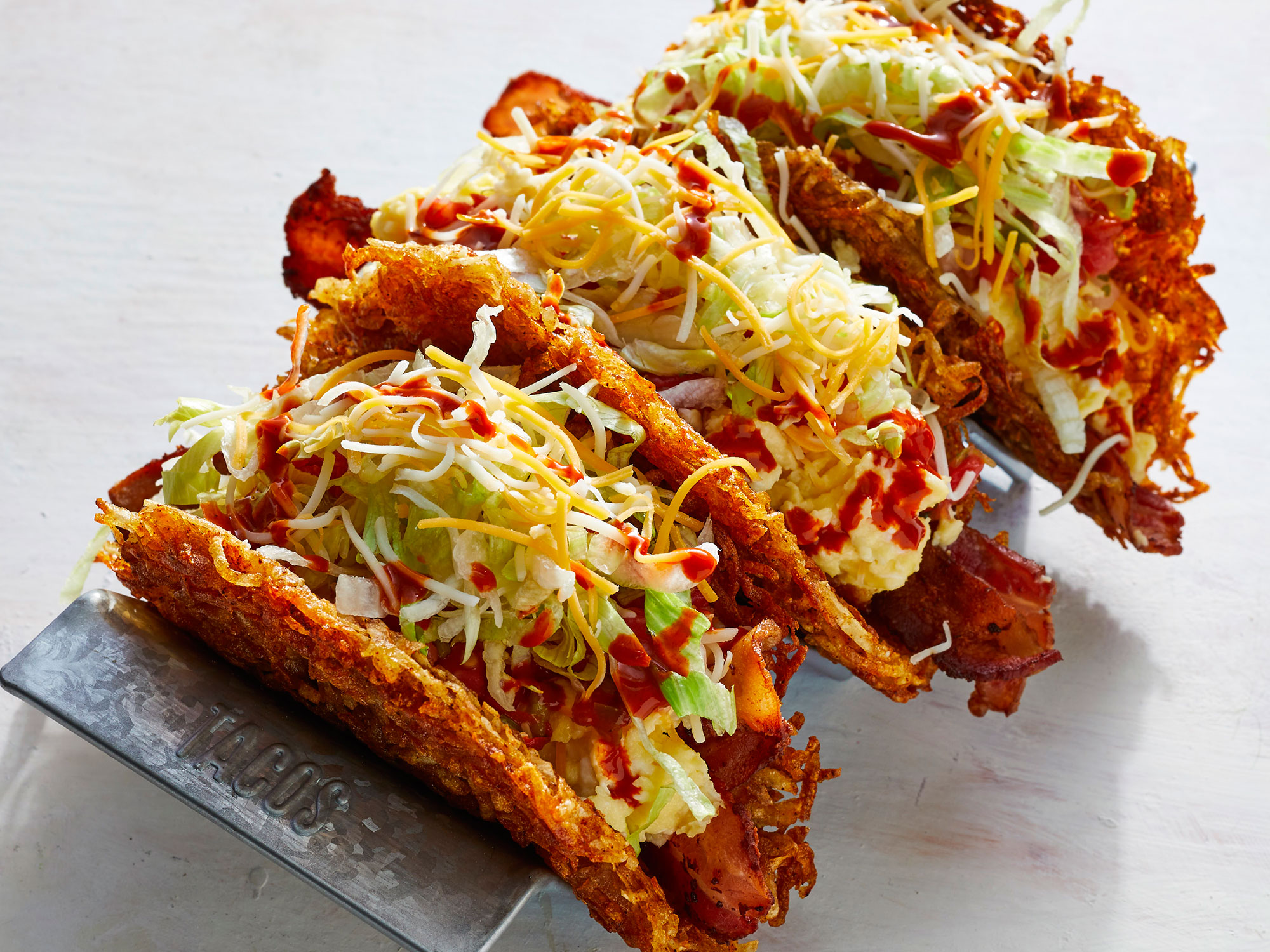 Hash Brown Shell Breakfast Tacos