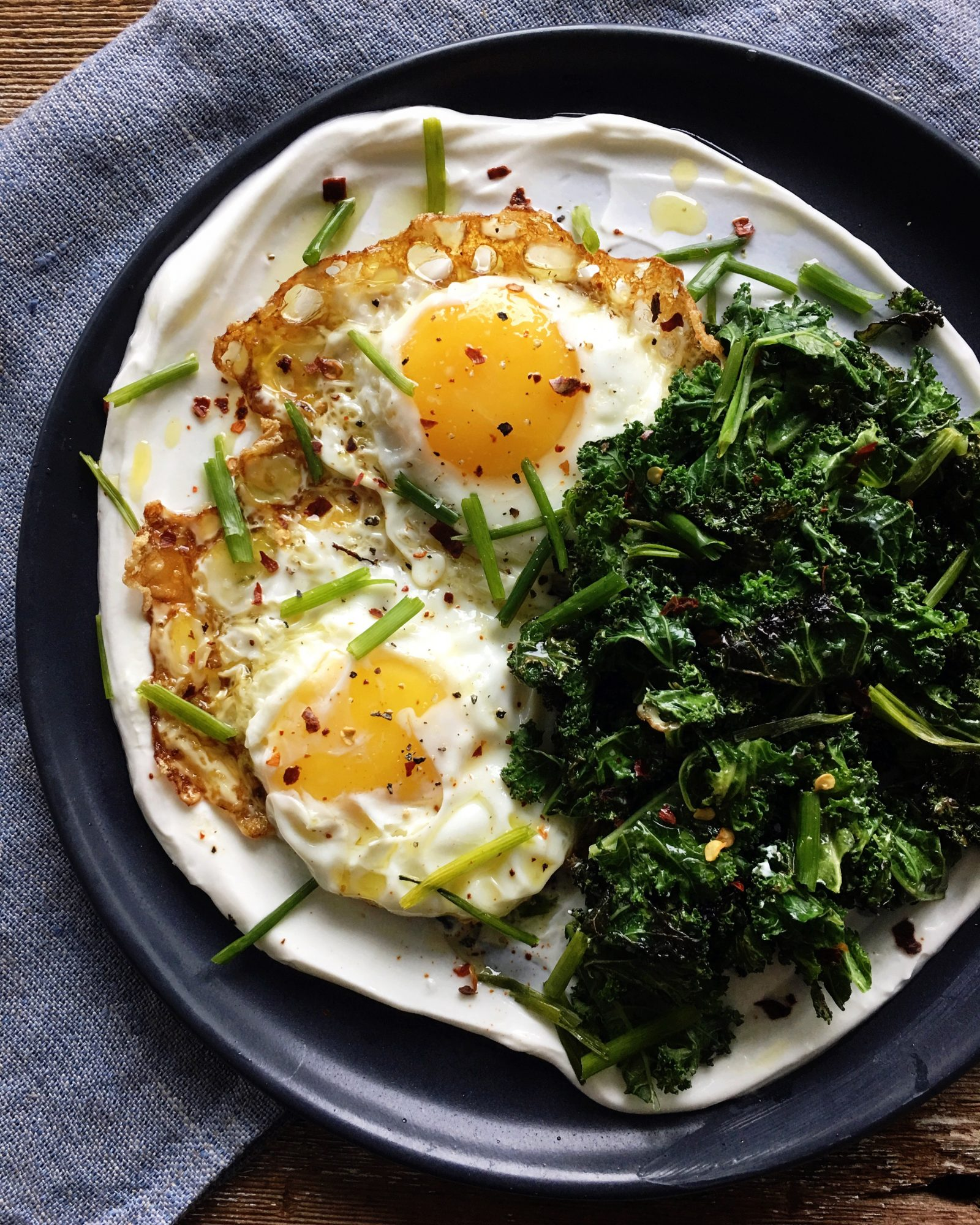 Fried Eggs with yogurt