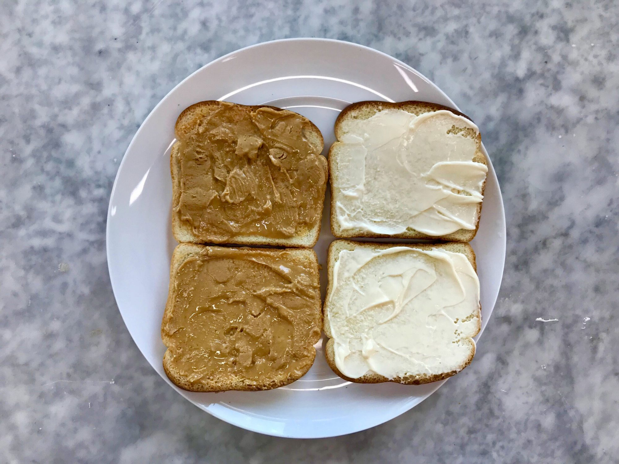 peanut butter and mayonnaise open sandwich