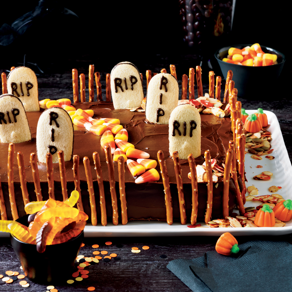 Deserted Graveyard Cake                            RecipePrepare this decadent, chocolate-frosted cake for a festive Halloween dessert.
