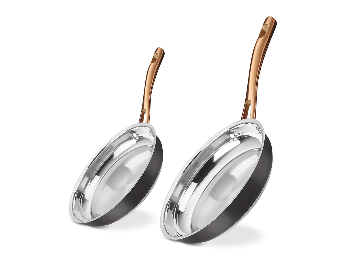 "Cuisinart 9"" & 11"" Onyx Black & Rose Gold Skillet Set"