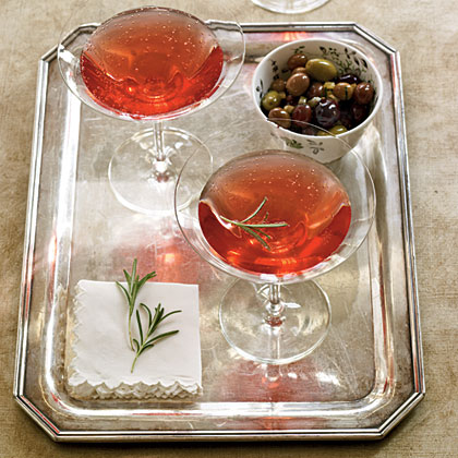 This simple twist on the traditional kir royale blends tart-sweet pomegranate juice with subtle herbal notes from a rosemary-infused syrup.Pomegranate-Rosemary Royale