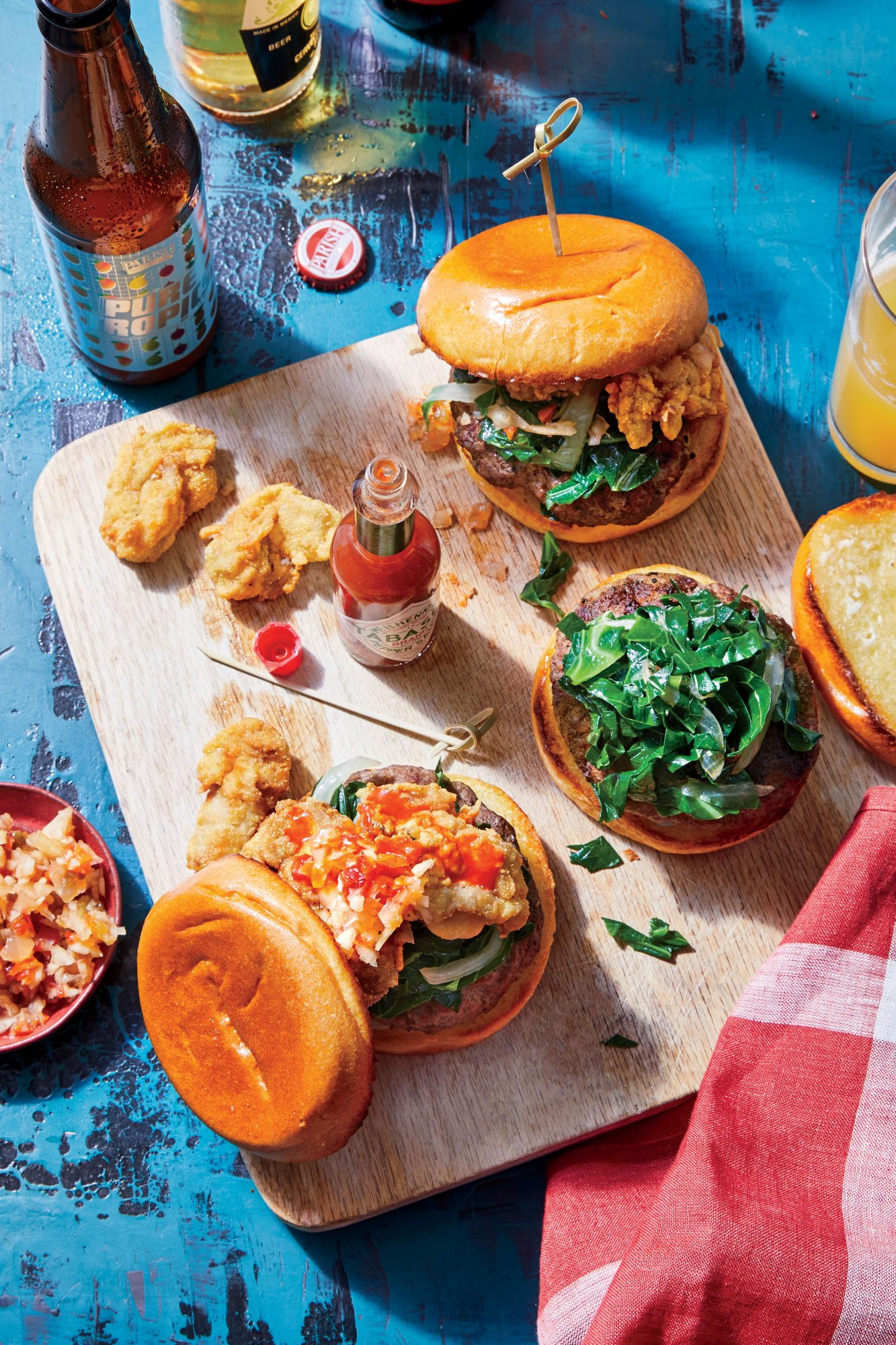 Cajun Burger with Collard Greens and Fried Oysters