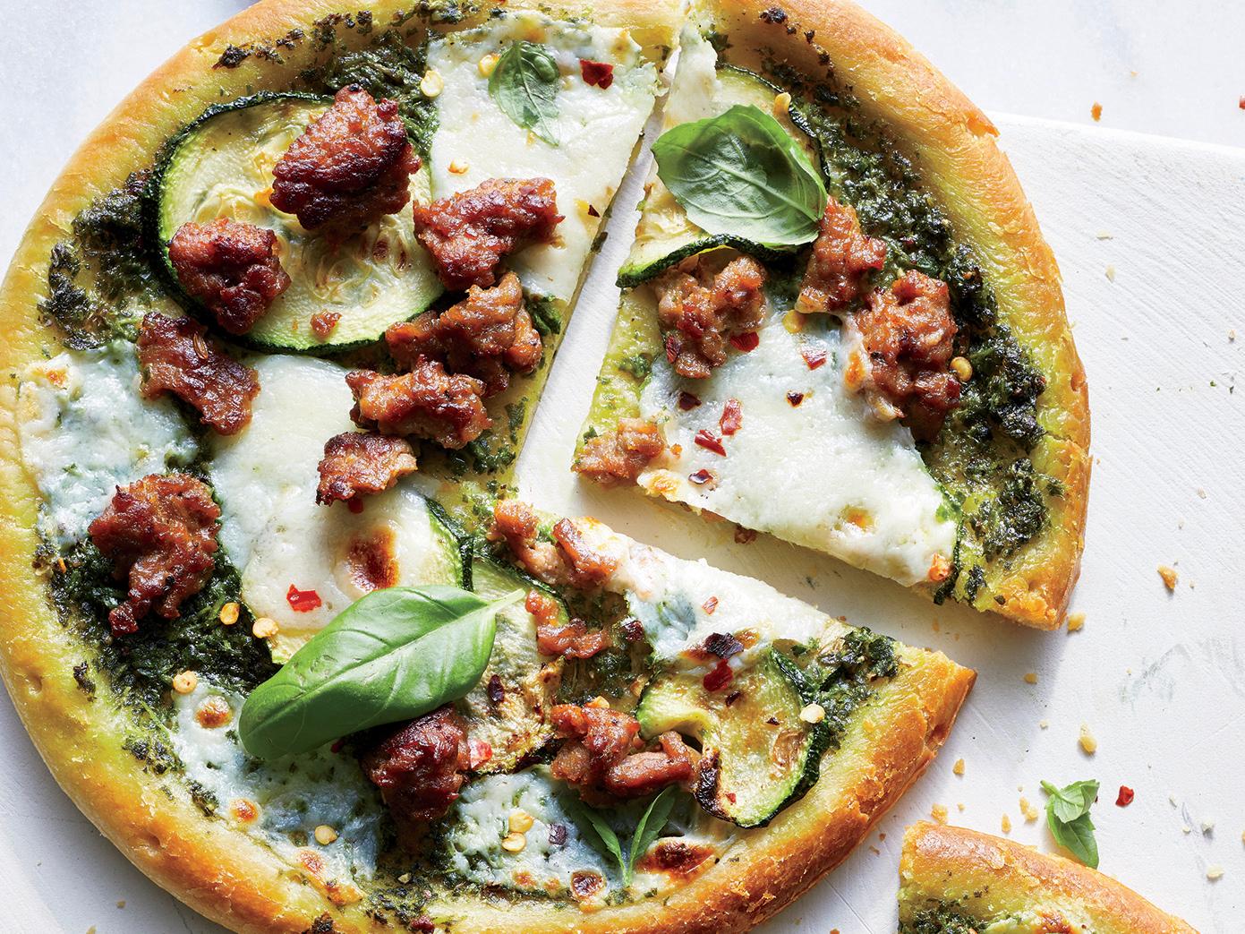 Zucchini-Pesto-Sausage Pizza