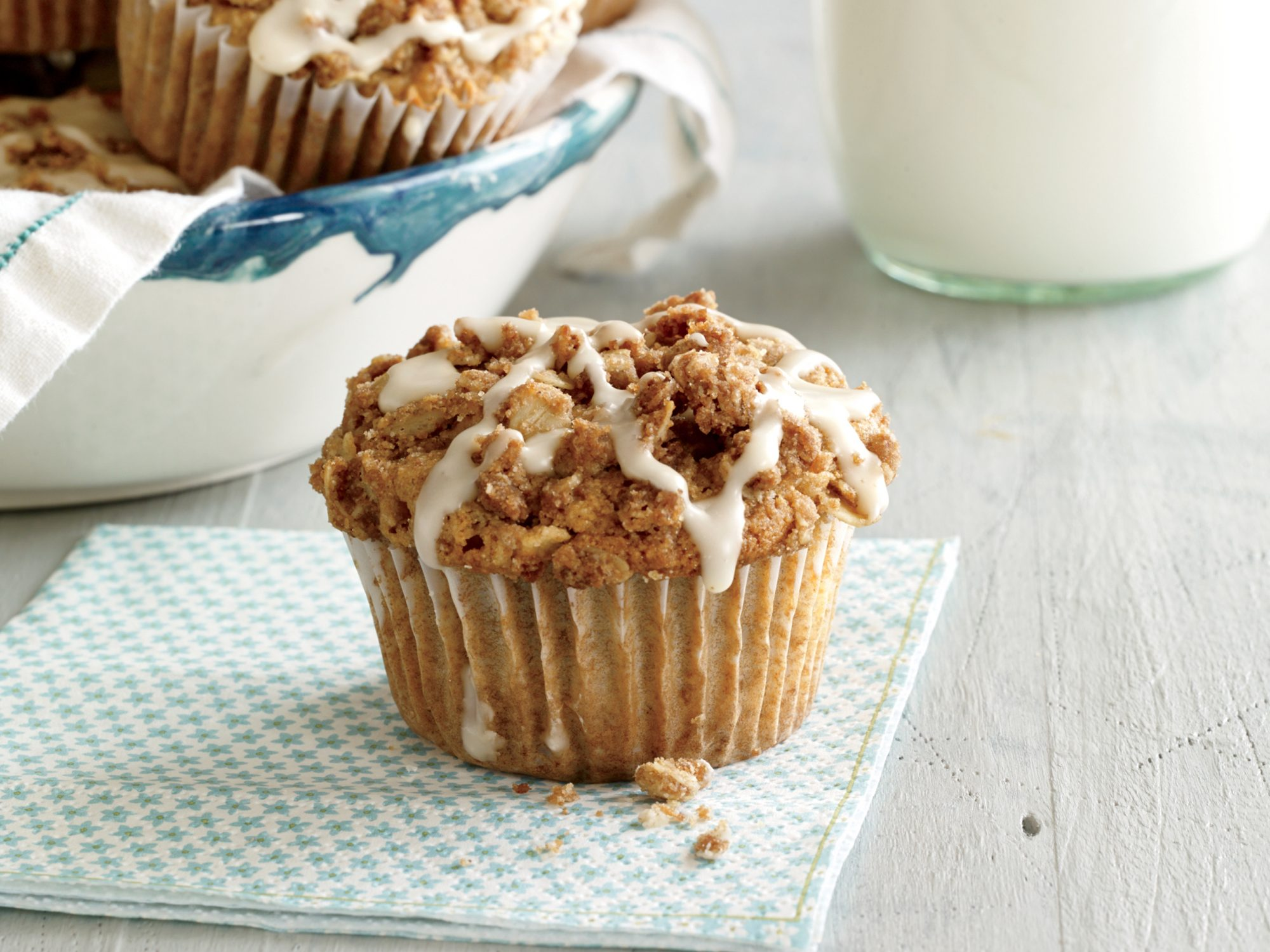 Apple Streusel Muffins with Maple Drizzle