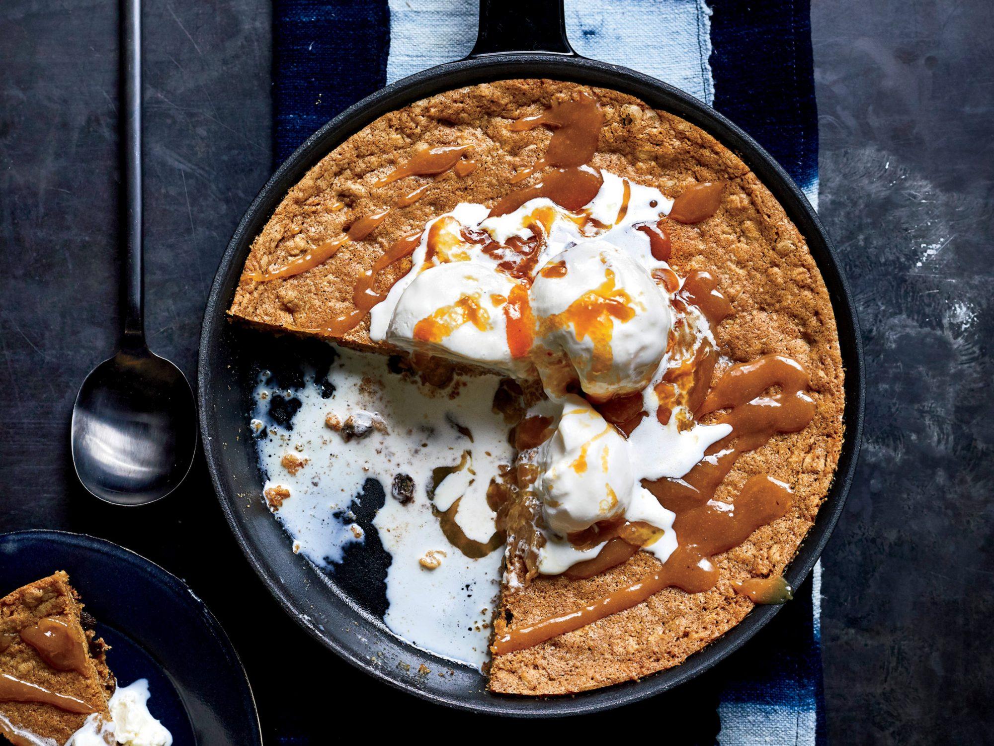 Oatmeal-Raisin Skillet Cookie with Miso-Caramel Sauce