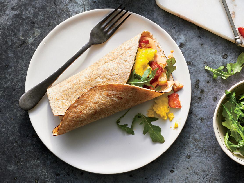 Bacon, Arugula, and Egg Wraps
