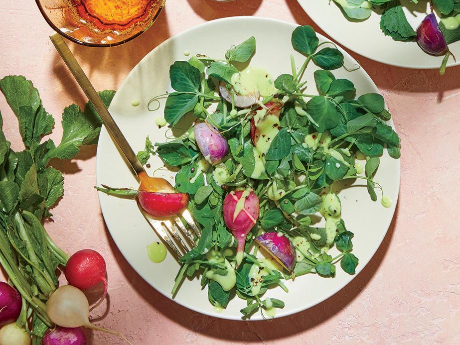 Sautéed Radish Salad with Avocado Dressing