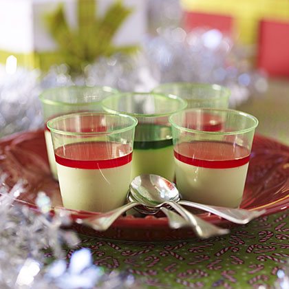 Panna Cotta Shots RecipeThese sweet, creamy shots are anything but ugly. But we managed to take them down a notch by pouring into plastic shot glasses and topping with red and green liqueurs. Just be sure to make these dainty desserts ahead, as they take some time to chill.