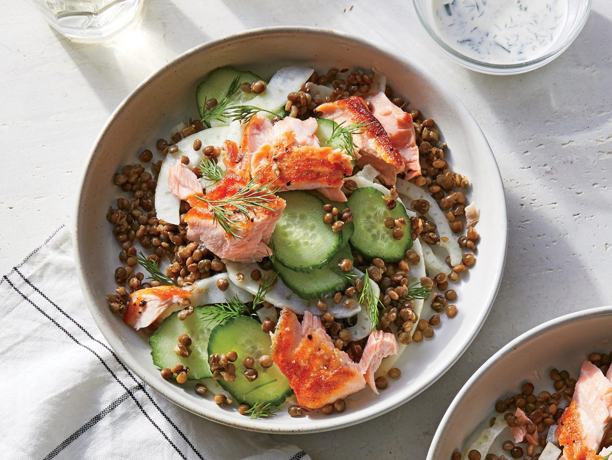 Salmon and Lentil Bowl with Kefir Dressing