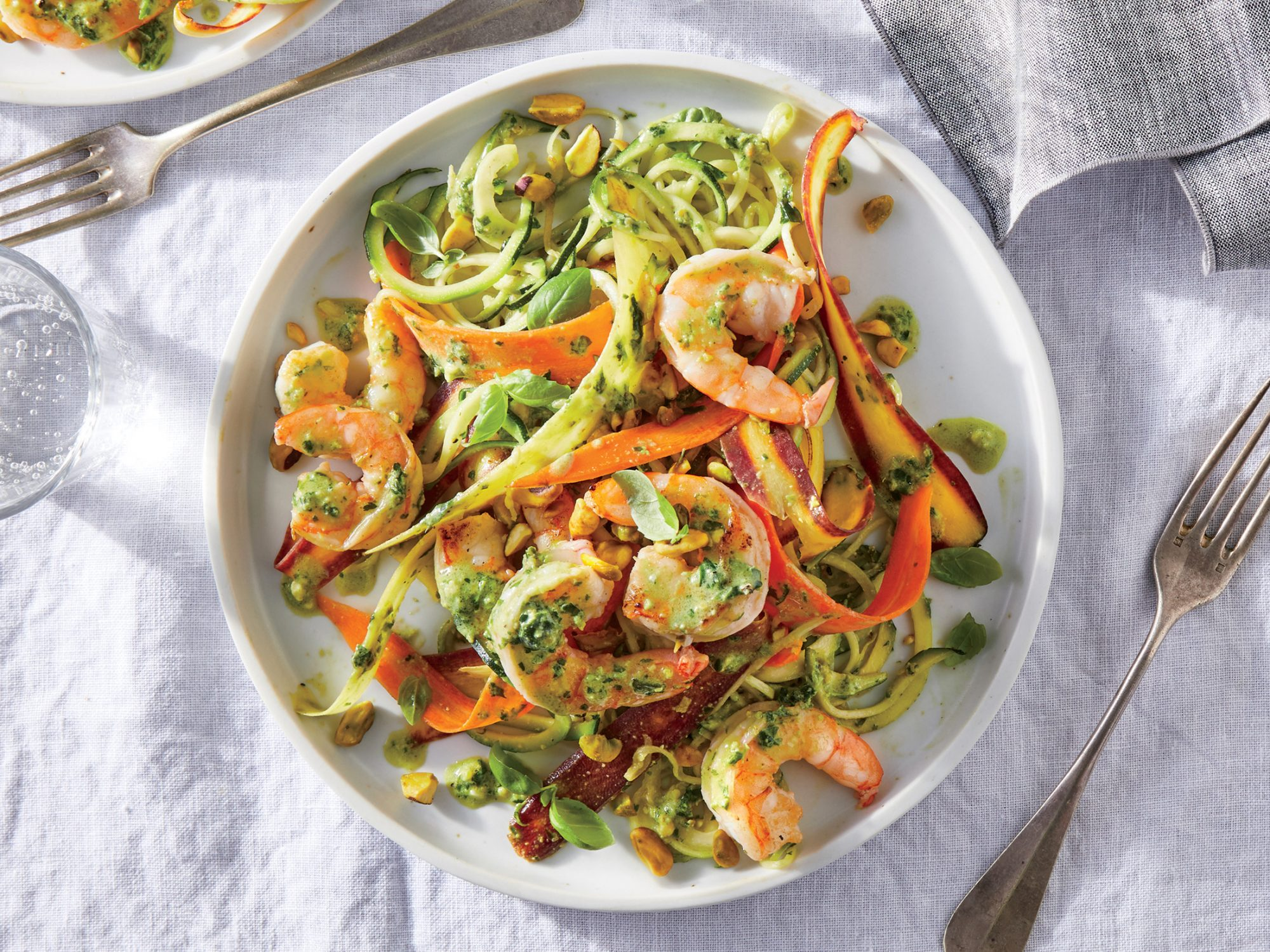 Veggie Noodles with Shrimp and Pistachio Pesto