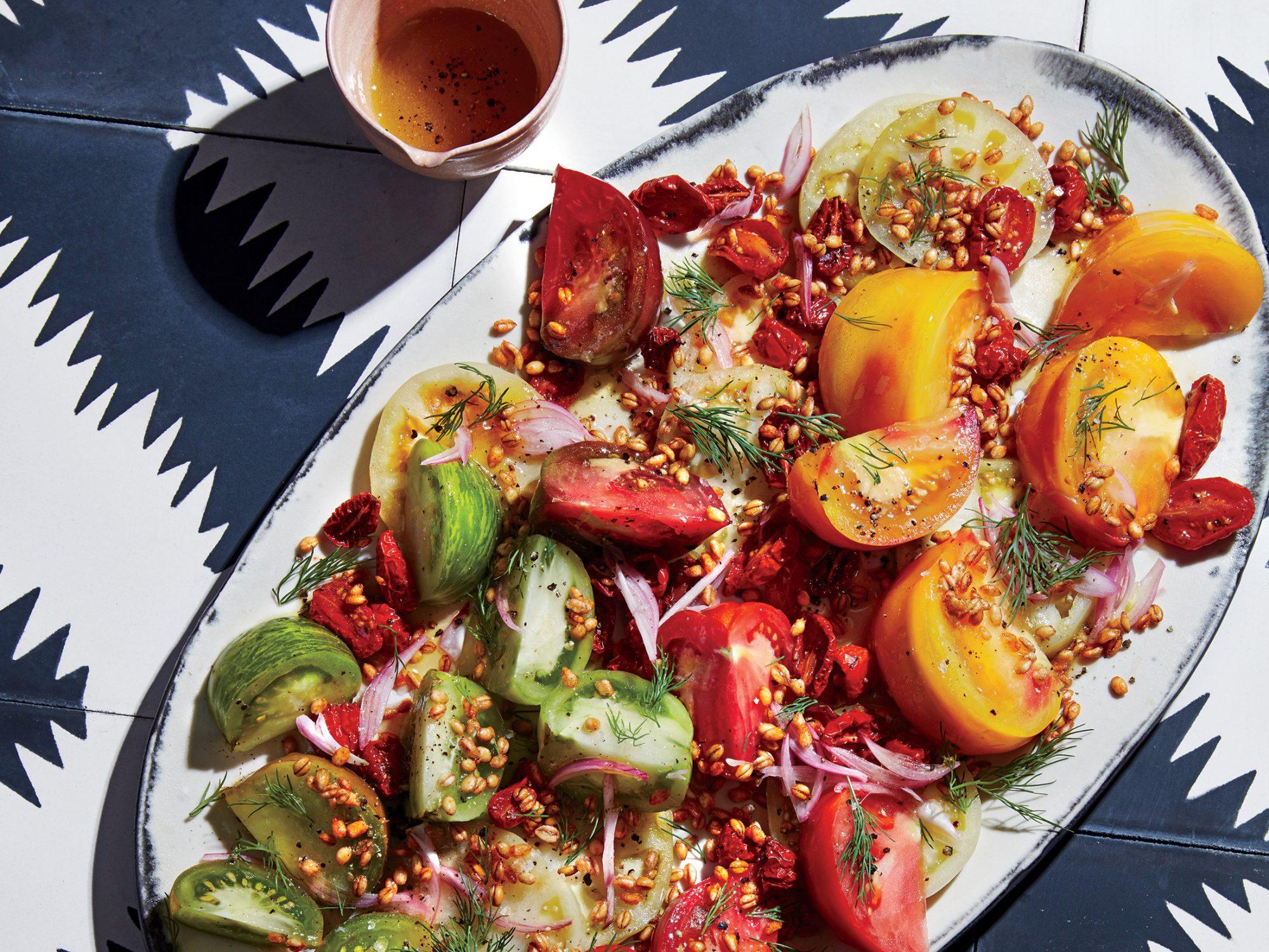 Triple Tomato Salad with Crispy Farro