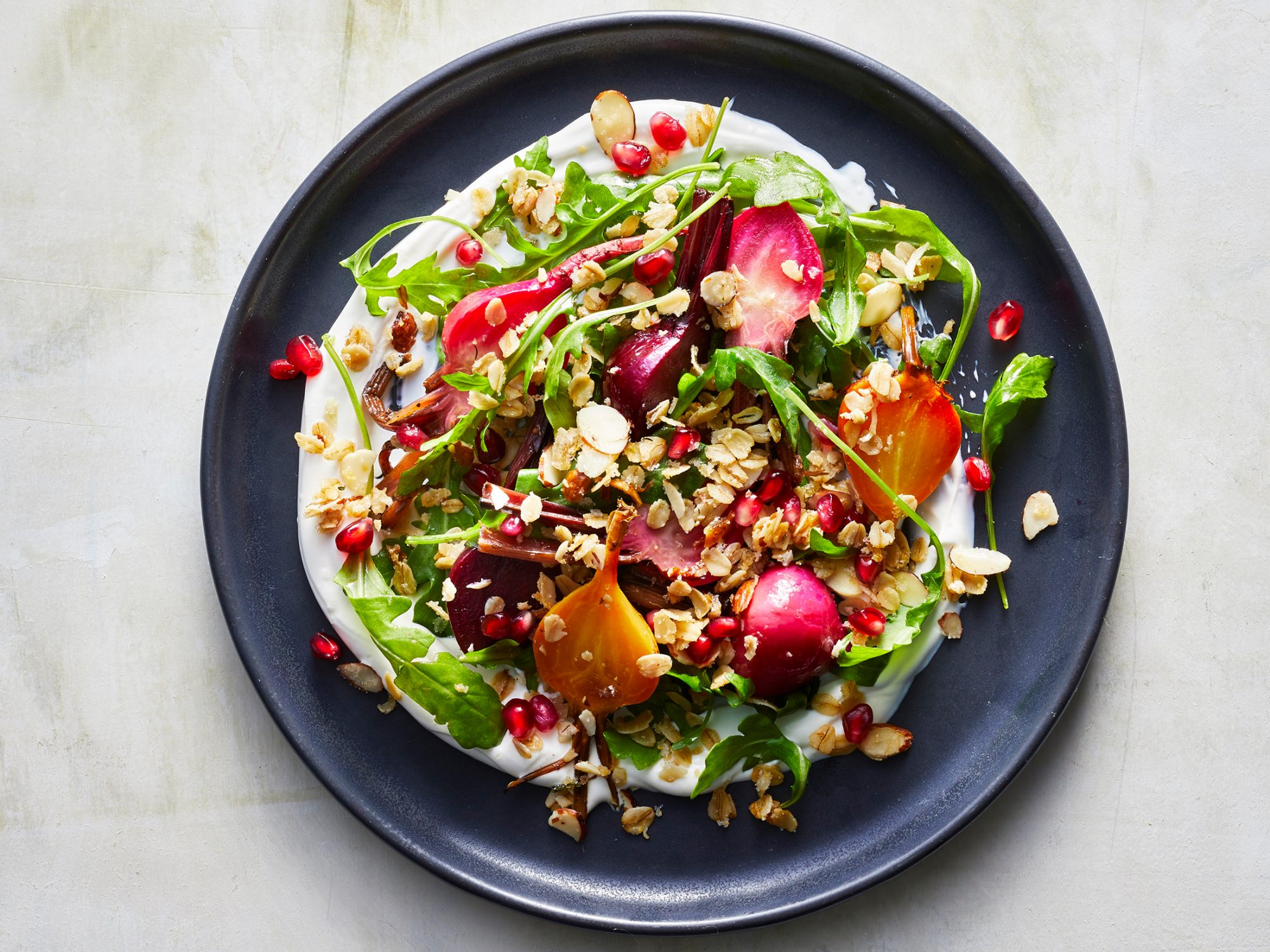 Beet and Labneh Salad with Duck Fat Granola