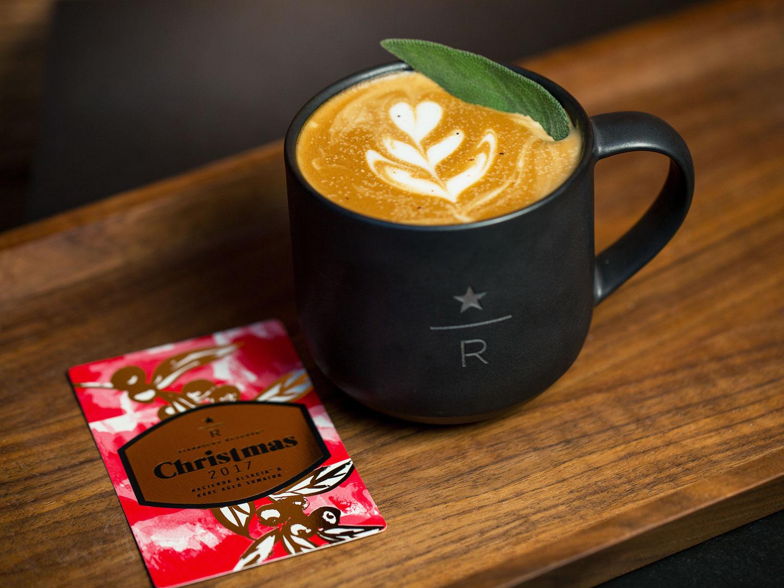 The Starbucks Reserve Juniper Latte photographed on Thursday, November 16, 2017.  (Joshua Trujillo, Starbucks)