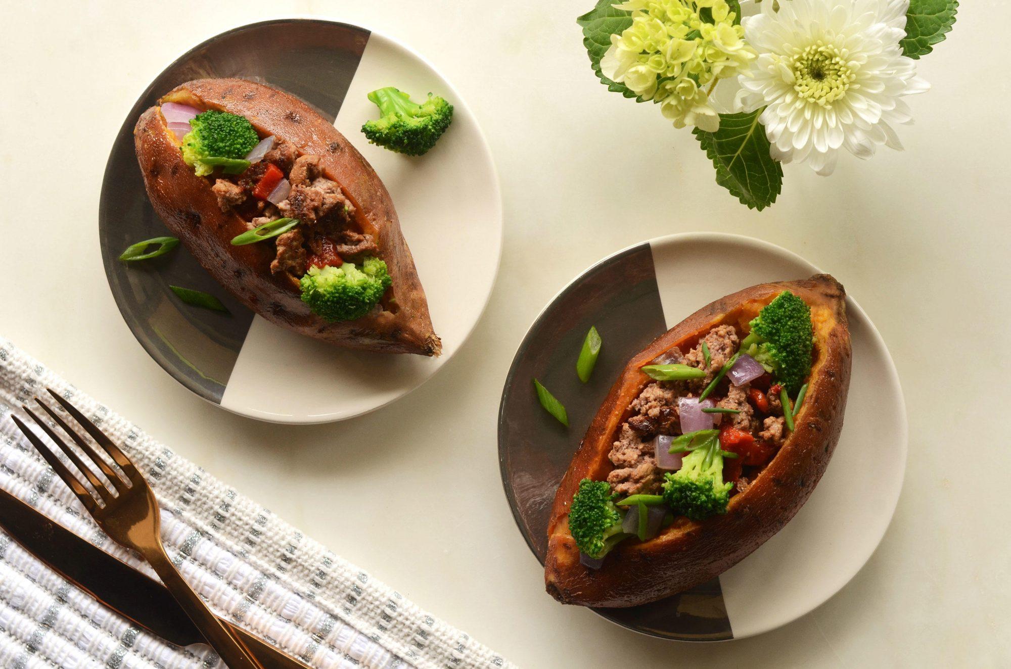 Beef and Broccoli Stuffed Sweet Potatoes