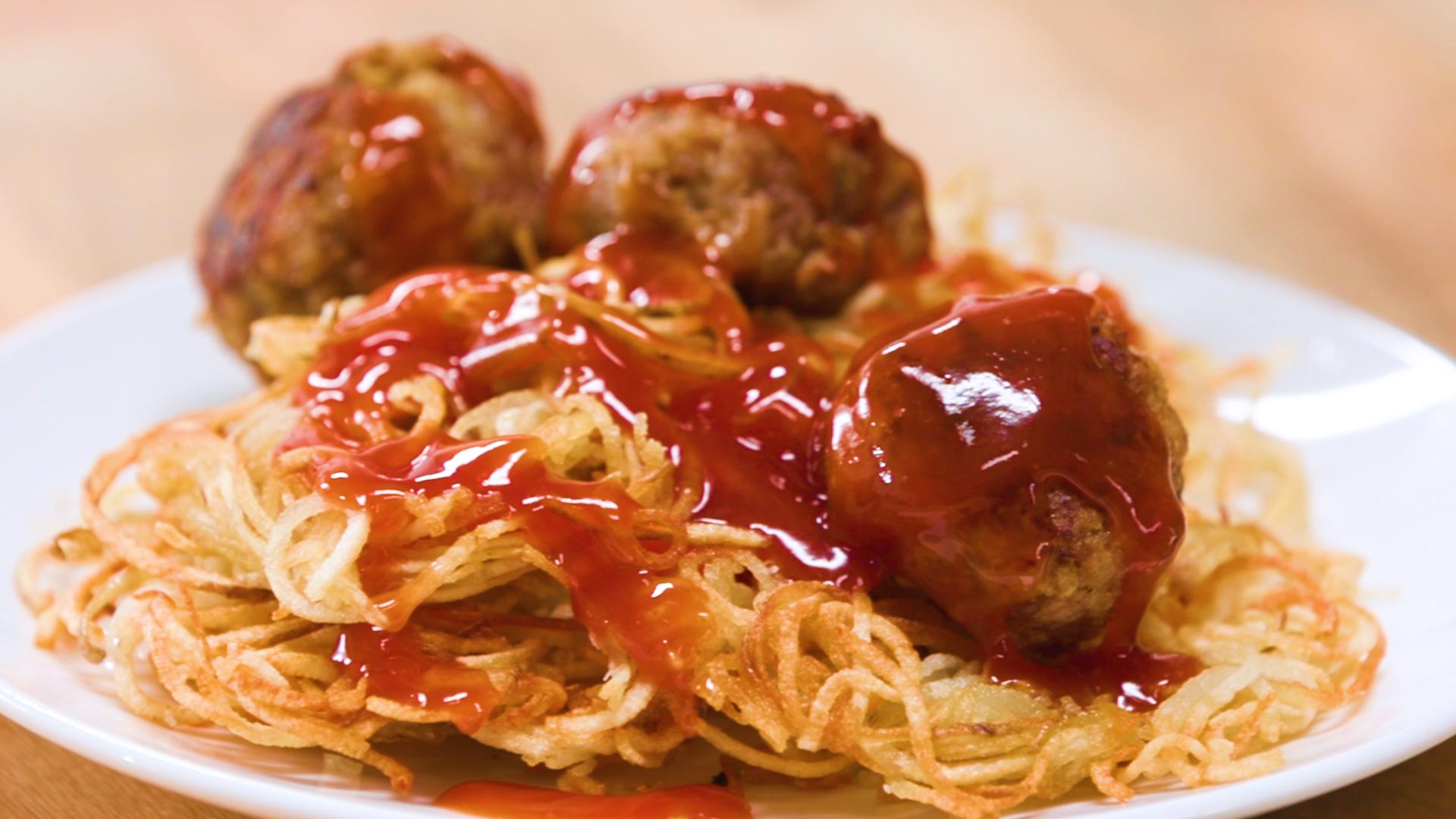 Breakfast Meatballs and Spud-Ghetti
