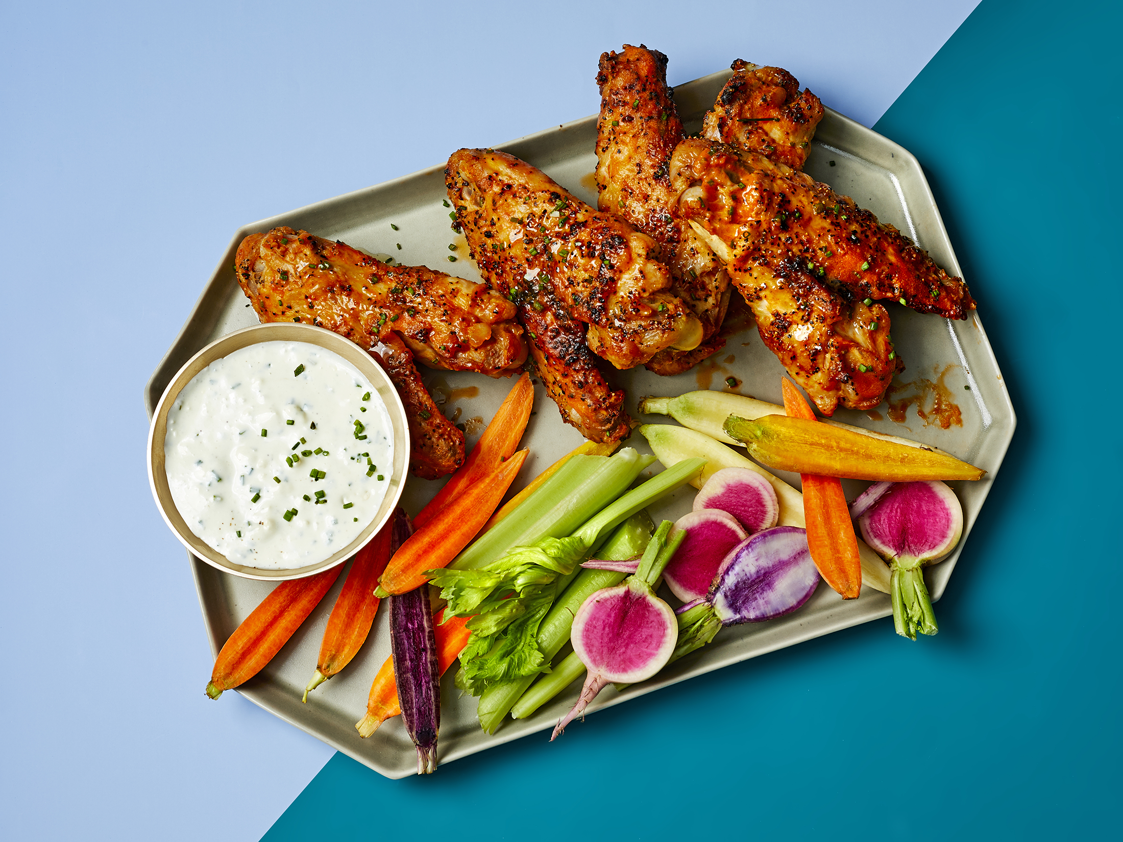 Buffalo Turkey Wings With Blue Cheese Dip