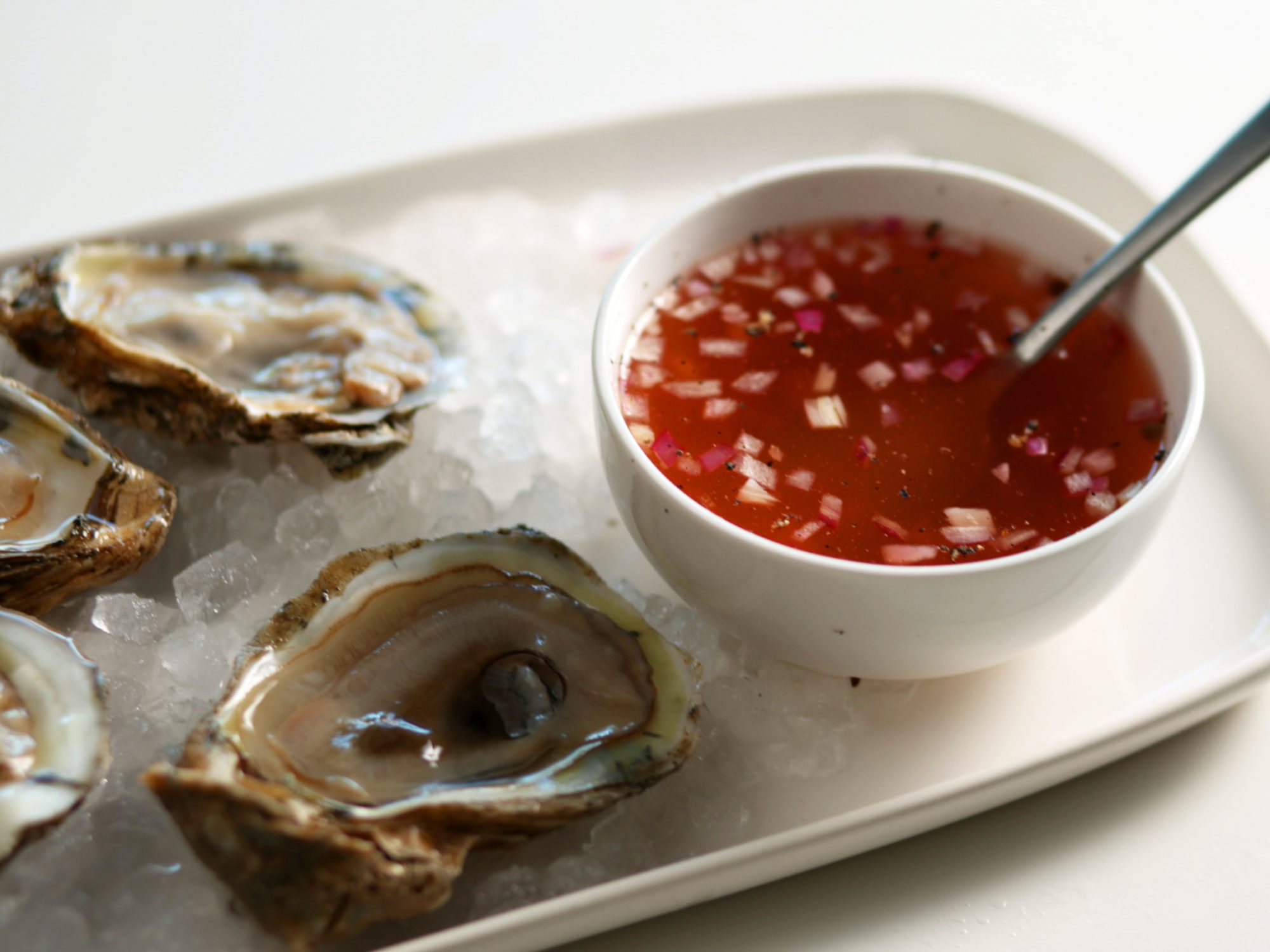 Classic Mignonette With Fresh Oysters On The Half Shell image