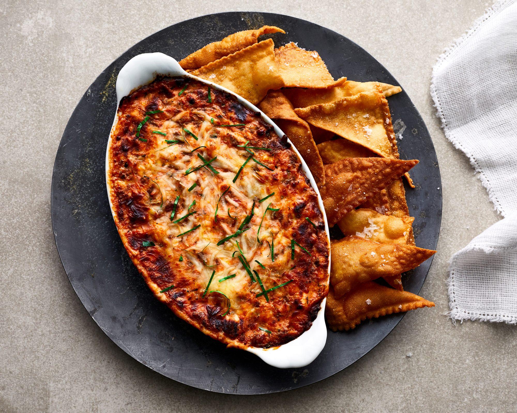 Lasagna Dip With Pasta Chips