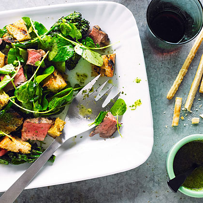 Beef, Broccolini, and Bread Salad with Salsa Verde Recipe