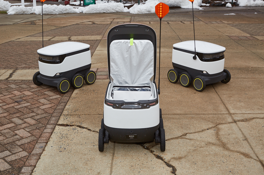 This Is the First College to Include Food Delivery Robots in Its Meal Plan gmu-delivery-bots-2