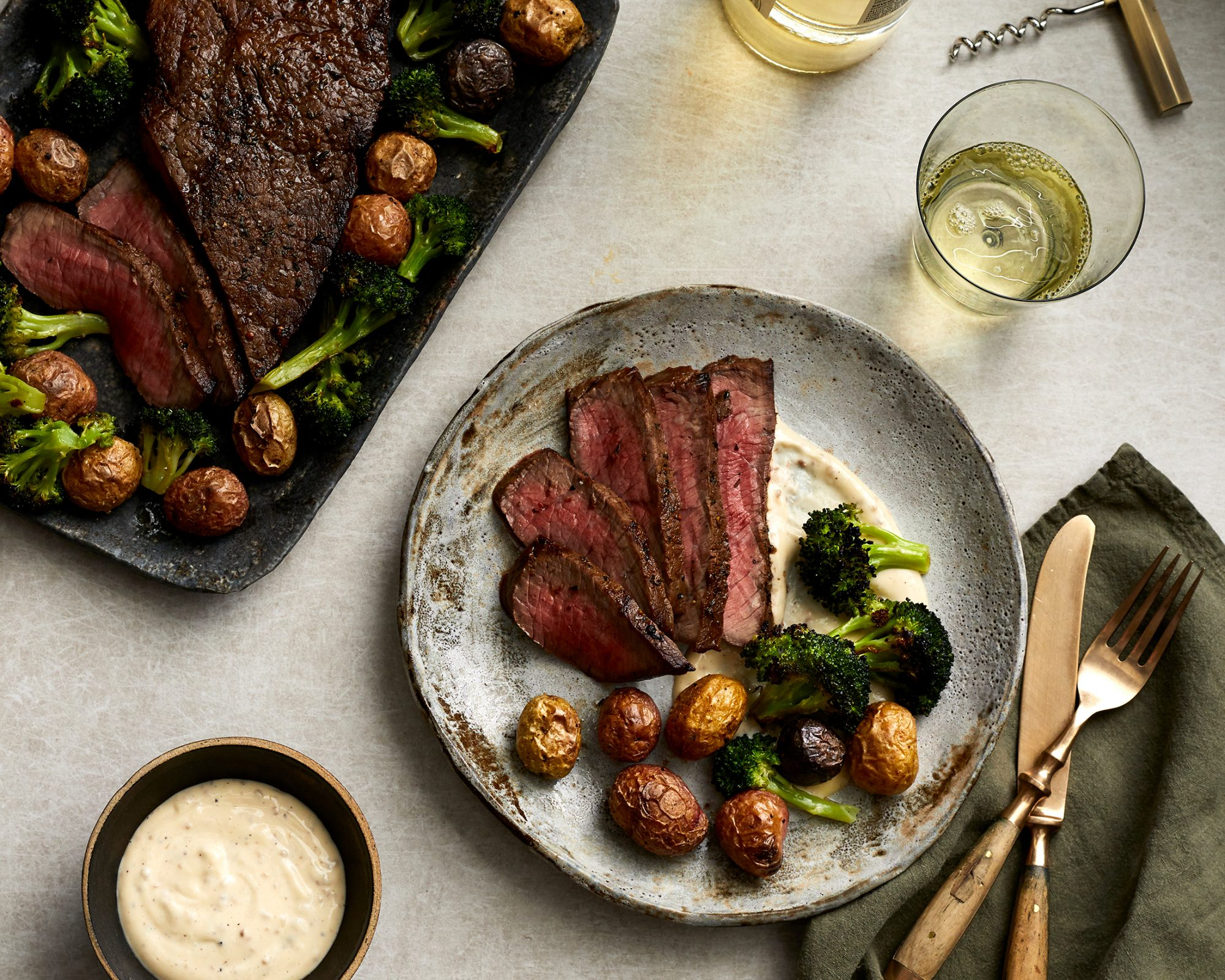 Marinated London Broil with Potatoes, Broccoli, and Roasted Garlic Aioli image