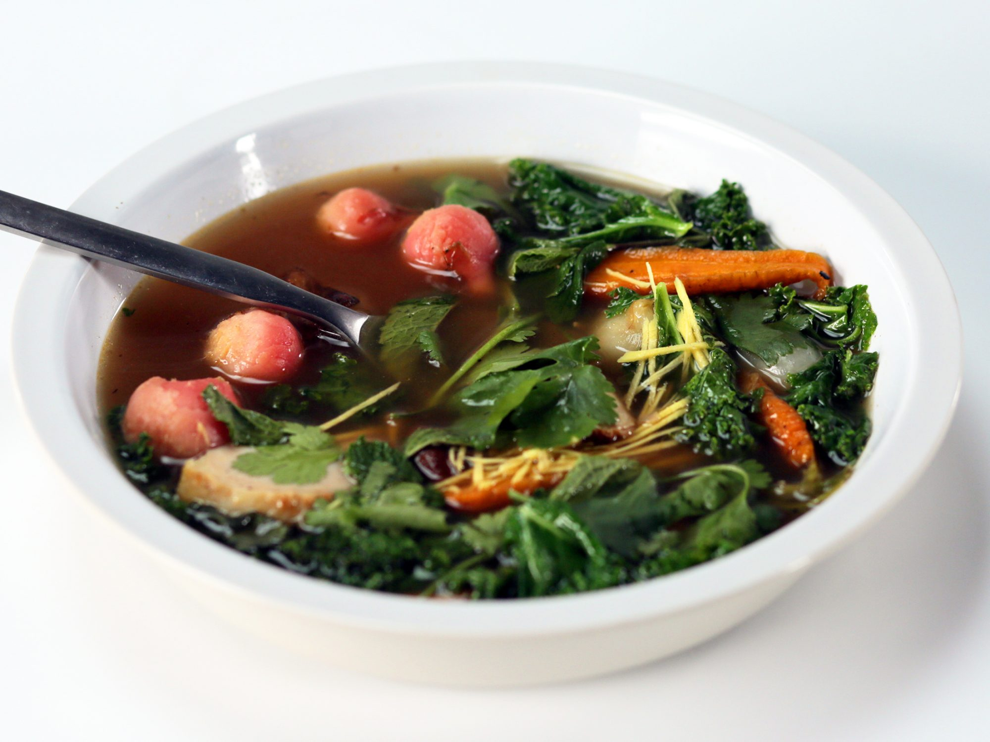 Left-Over Chicken Soup with Kale, Ginger, and Sumac