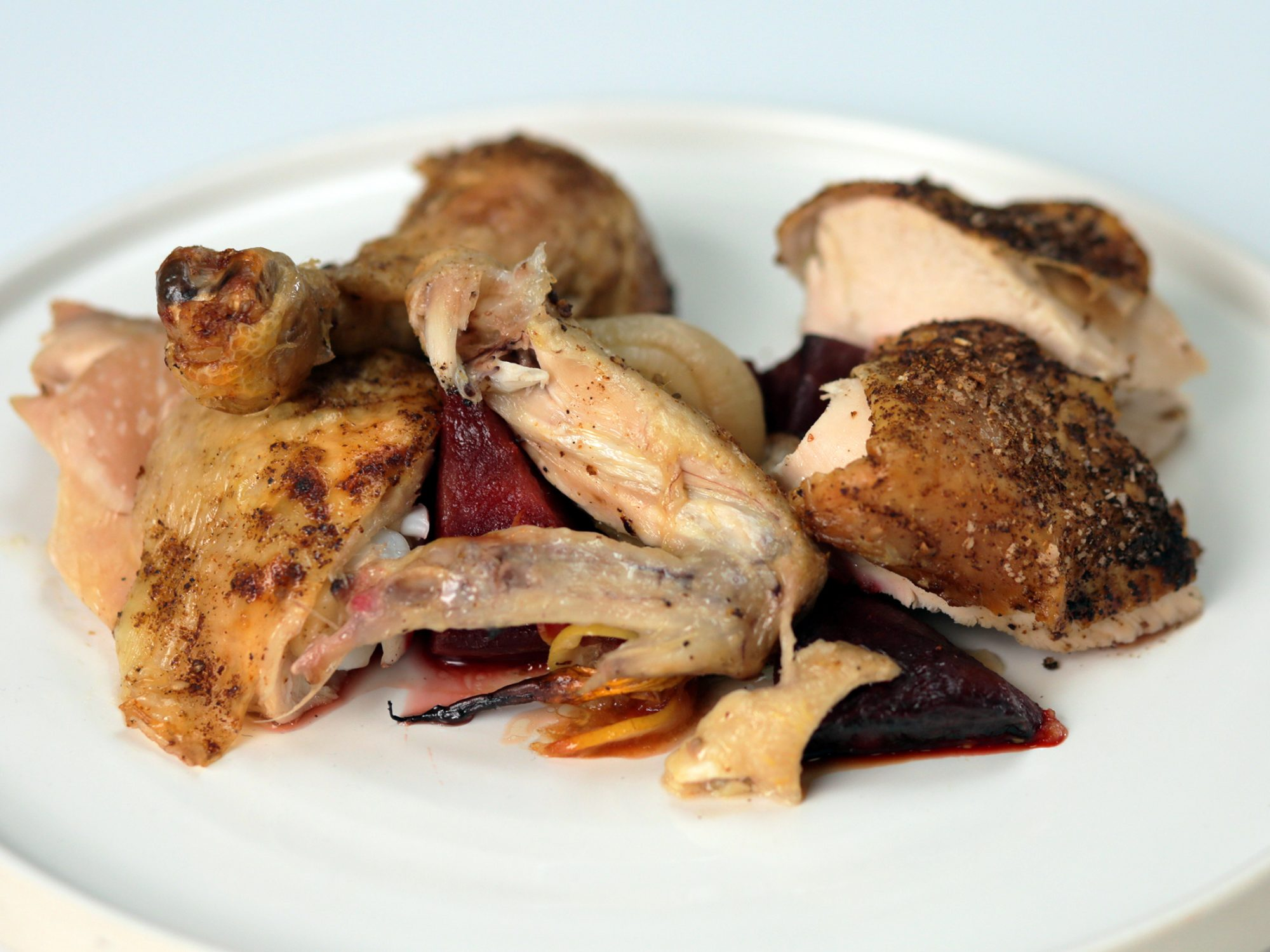 Roast Chicken With Dukkah and Citrus Over Roasted Vegetables image