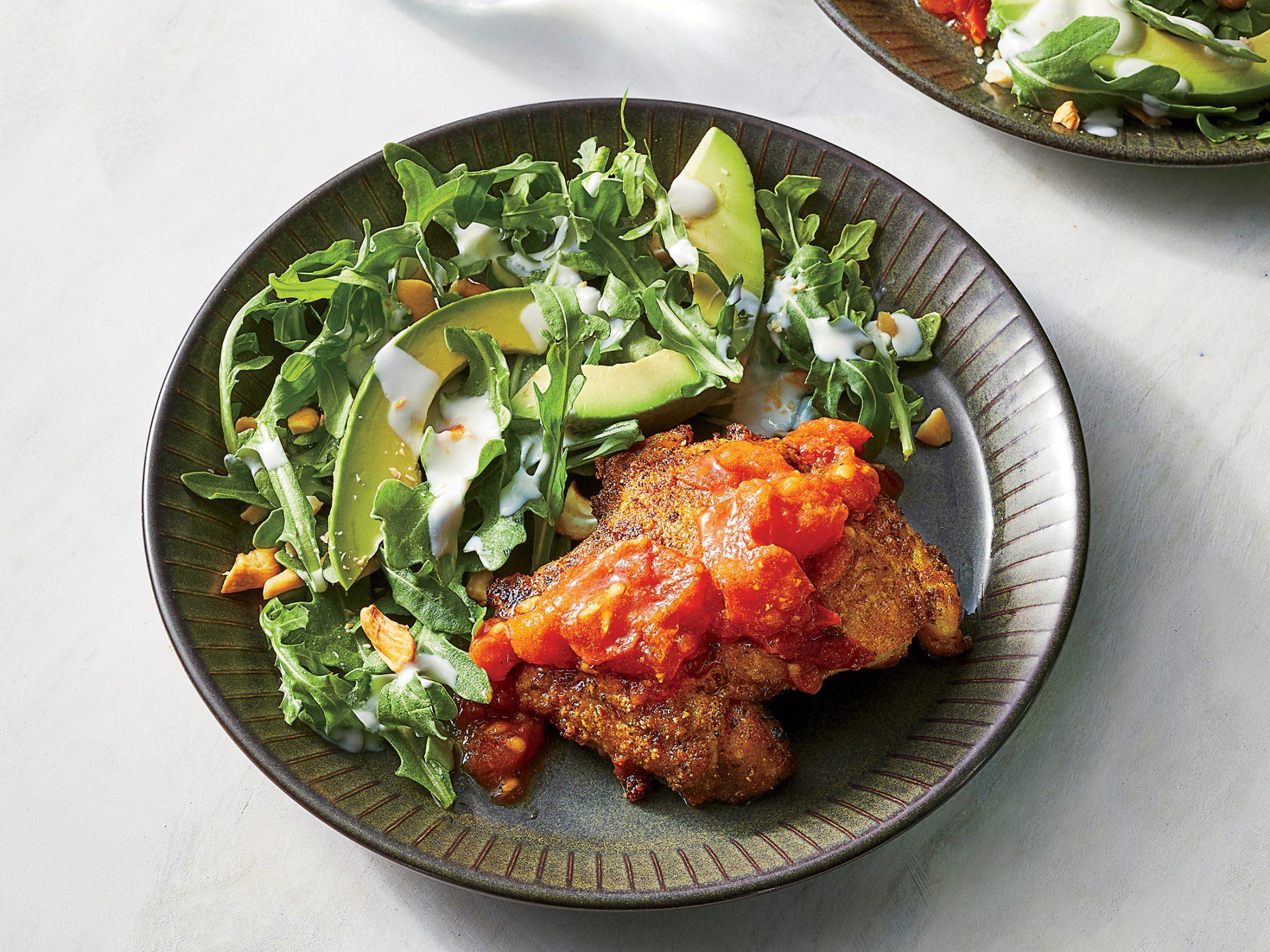 Crispy Curry Chicken with Avocado Salad