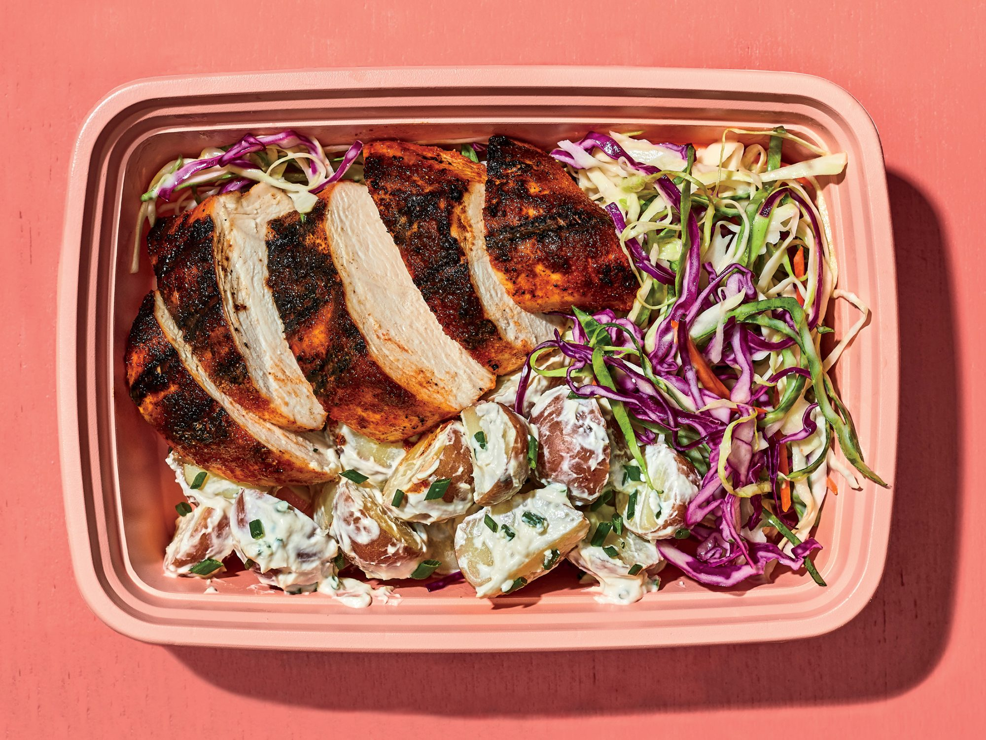 Smoky Chicken With Potato Salad and Slaw