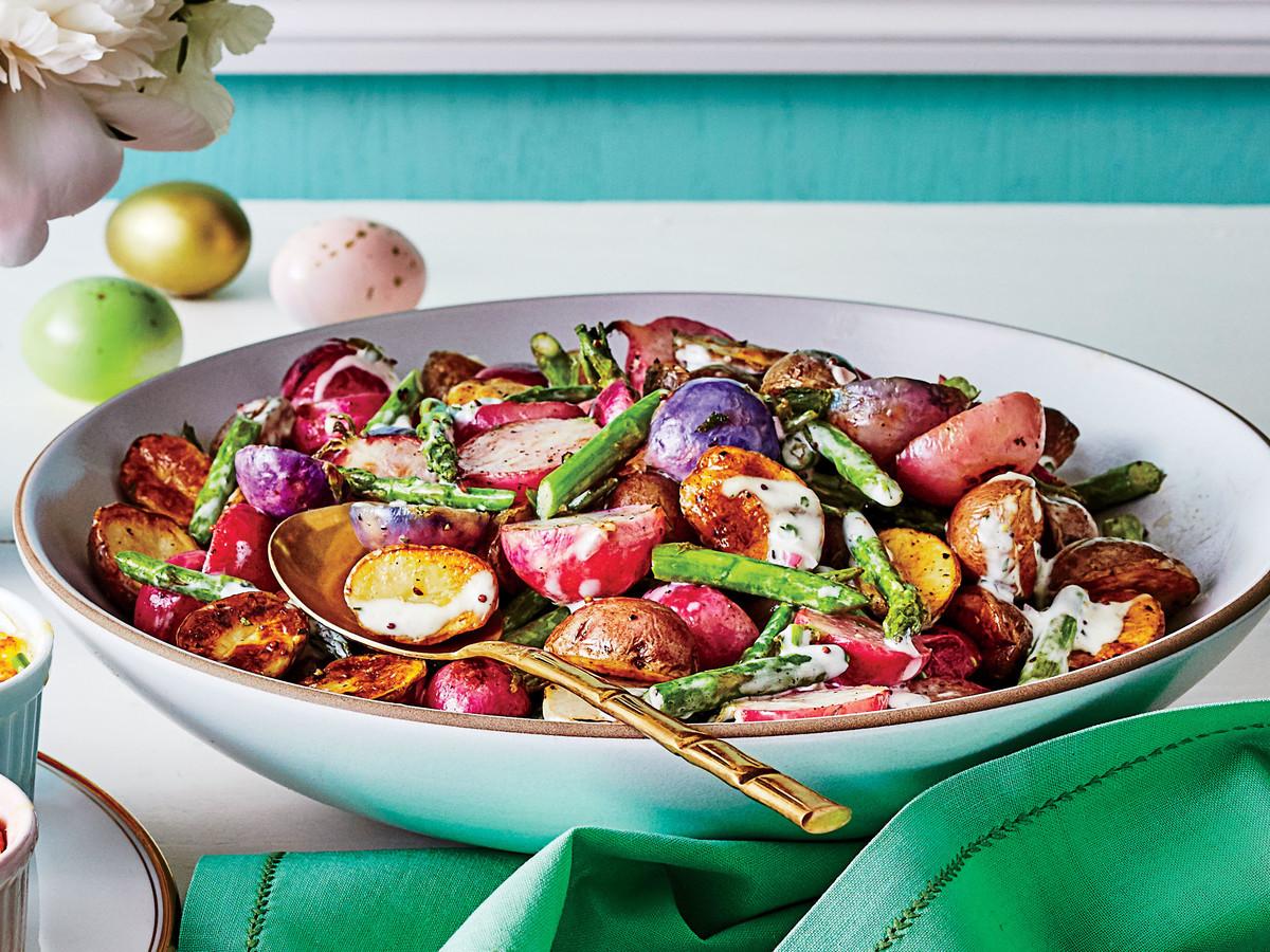 Warm Asparagus, Radish, and New Potato Salad with Herb Dressing