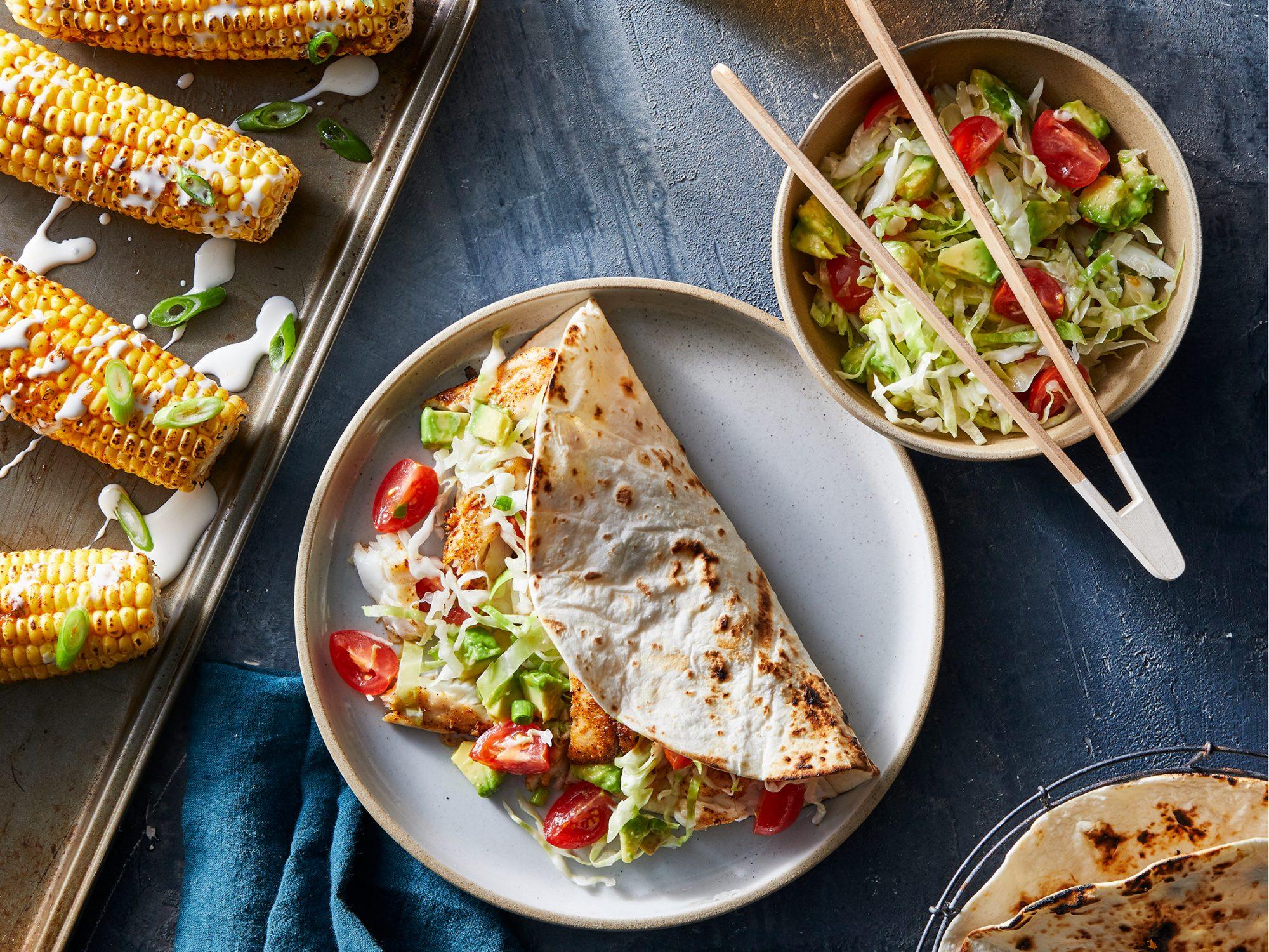 Sheet Pan BBQ Fish Tacos With Mexi Corn image