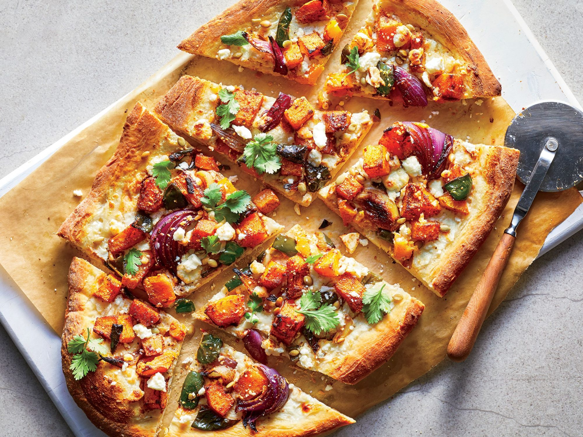 Roasted Butternut Squash and Poblano Pizza