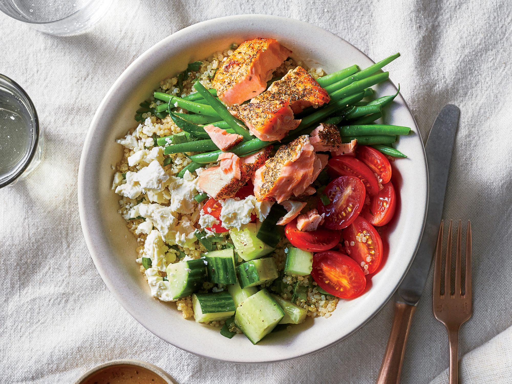 Easy Greek Salmon Bowls
