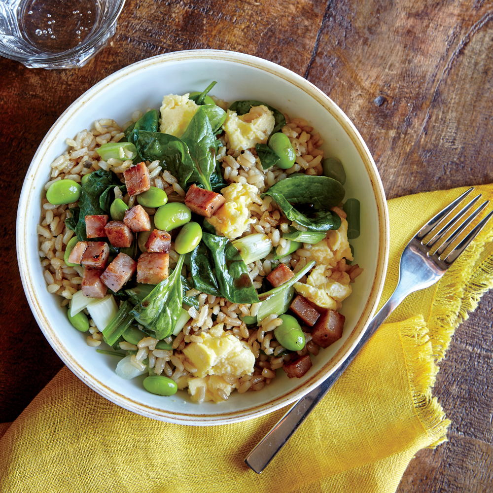 Veggie Fried Rice with Crispy Ham