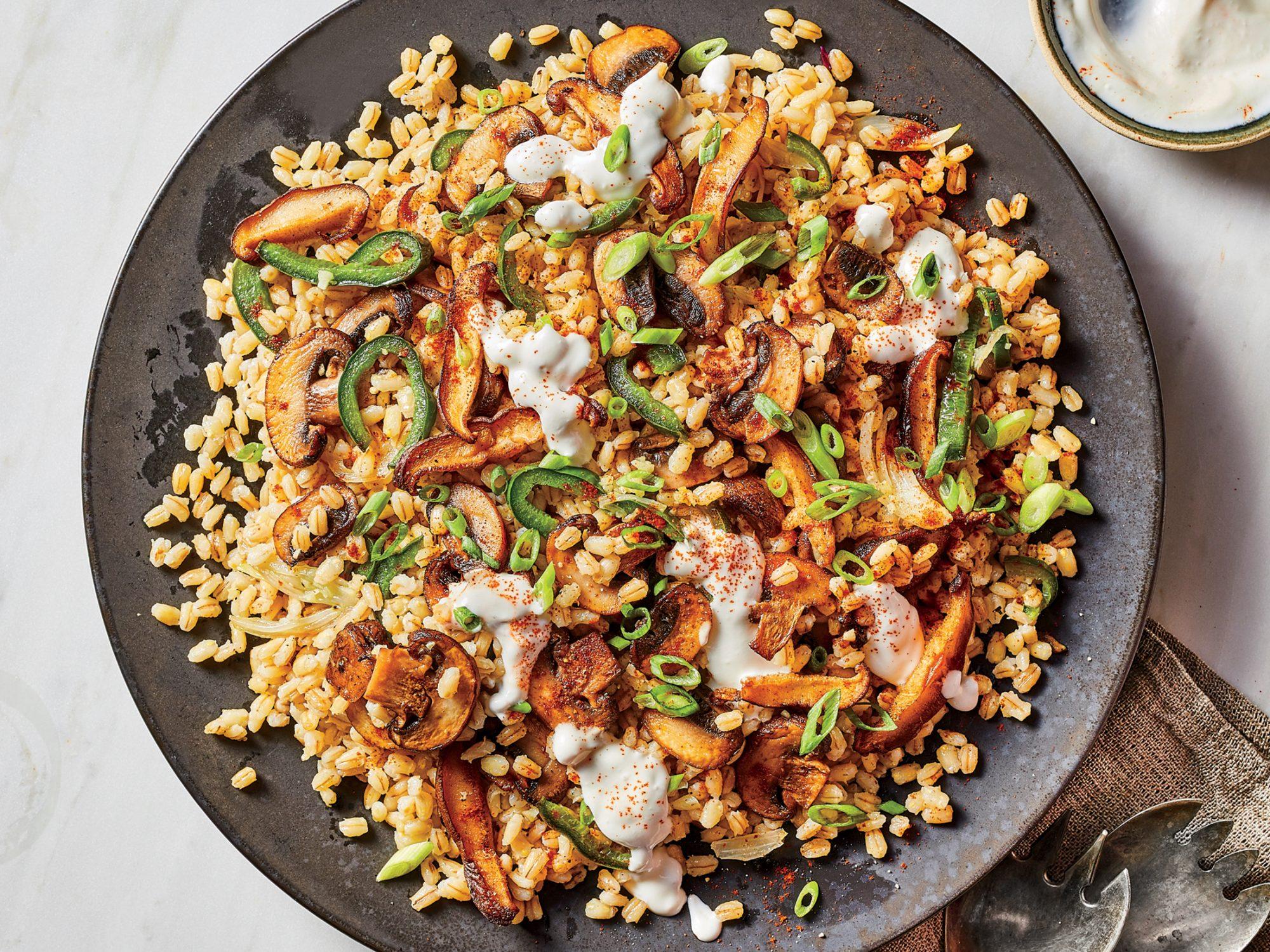 Smoky Mushroom and Barley Salad with Poblano