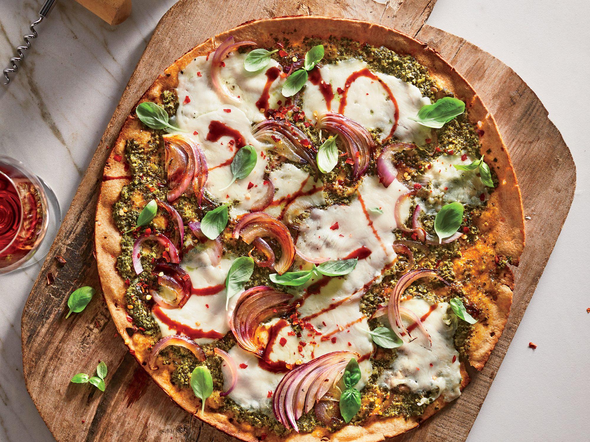 Winter Greens Pesto Pizza