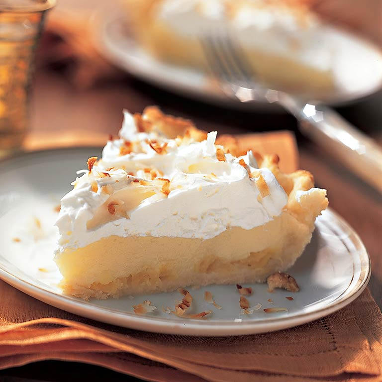 Coconut Cream Pie with Pineapple                            RecipeEven if you're not relaxing at a secluded Caribbean resort, you'll feel as though you are with a slice of this island-inspired cream pie.