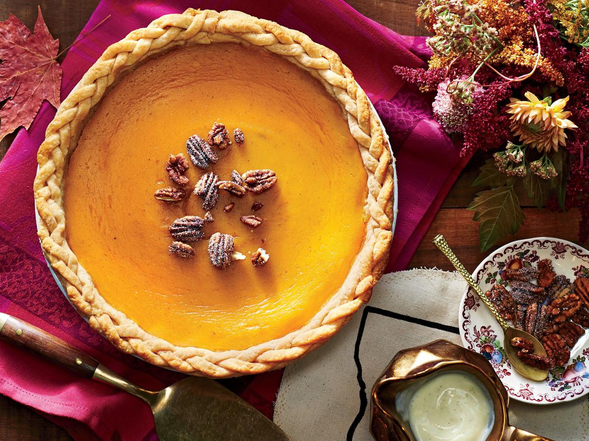 Cushaw Pie with Vanilla Bean Custard Sauce