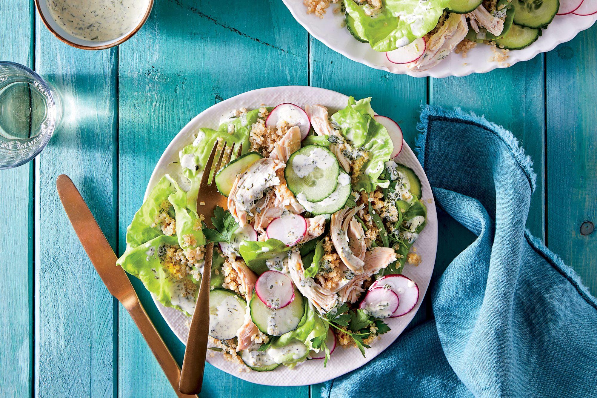 Chicken-Quinoa Salad with Green Goddess Dressing