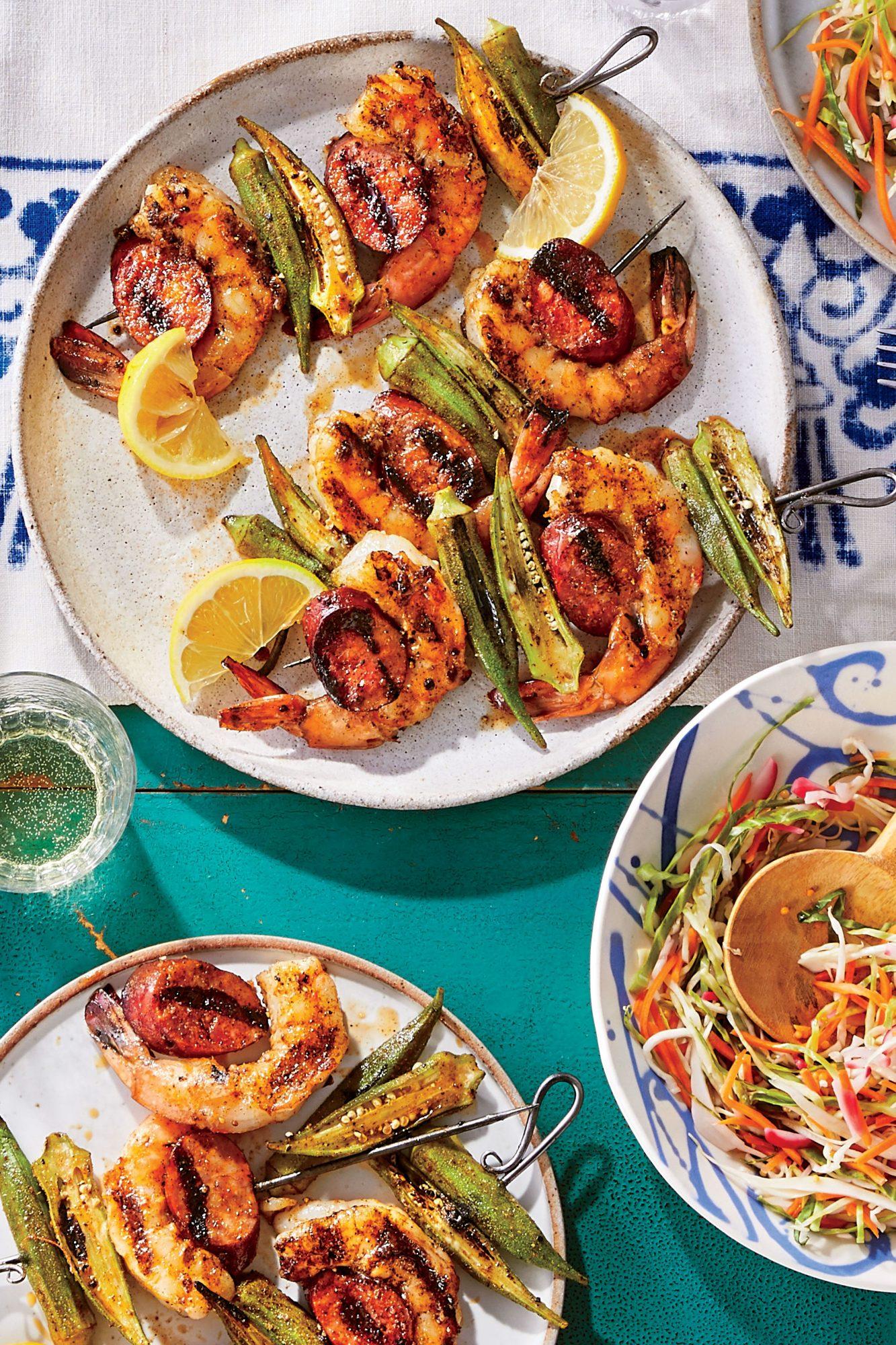 Shrimp-Okra-and-Sausage Kebabs