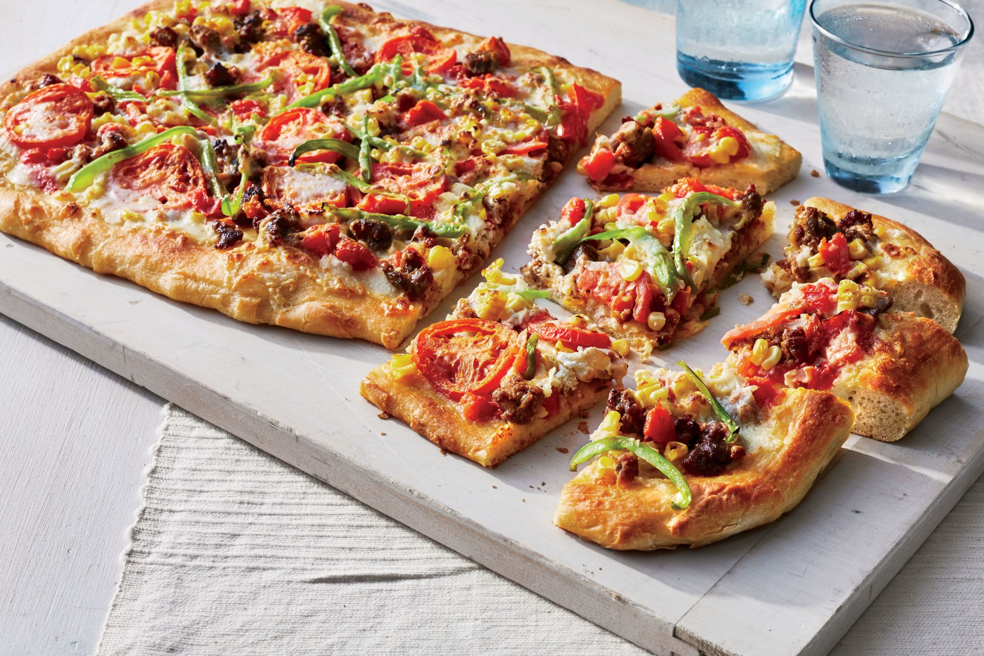 Sheet Pan Pizza with Corn, Tomatoes, and Sausage