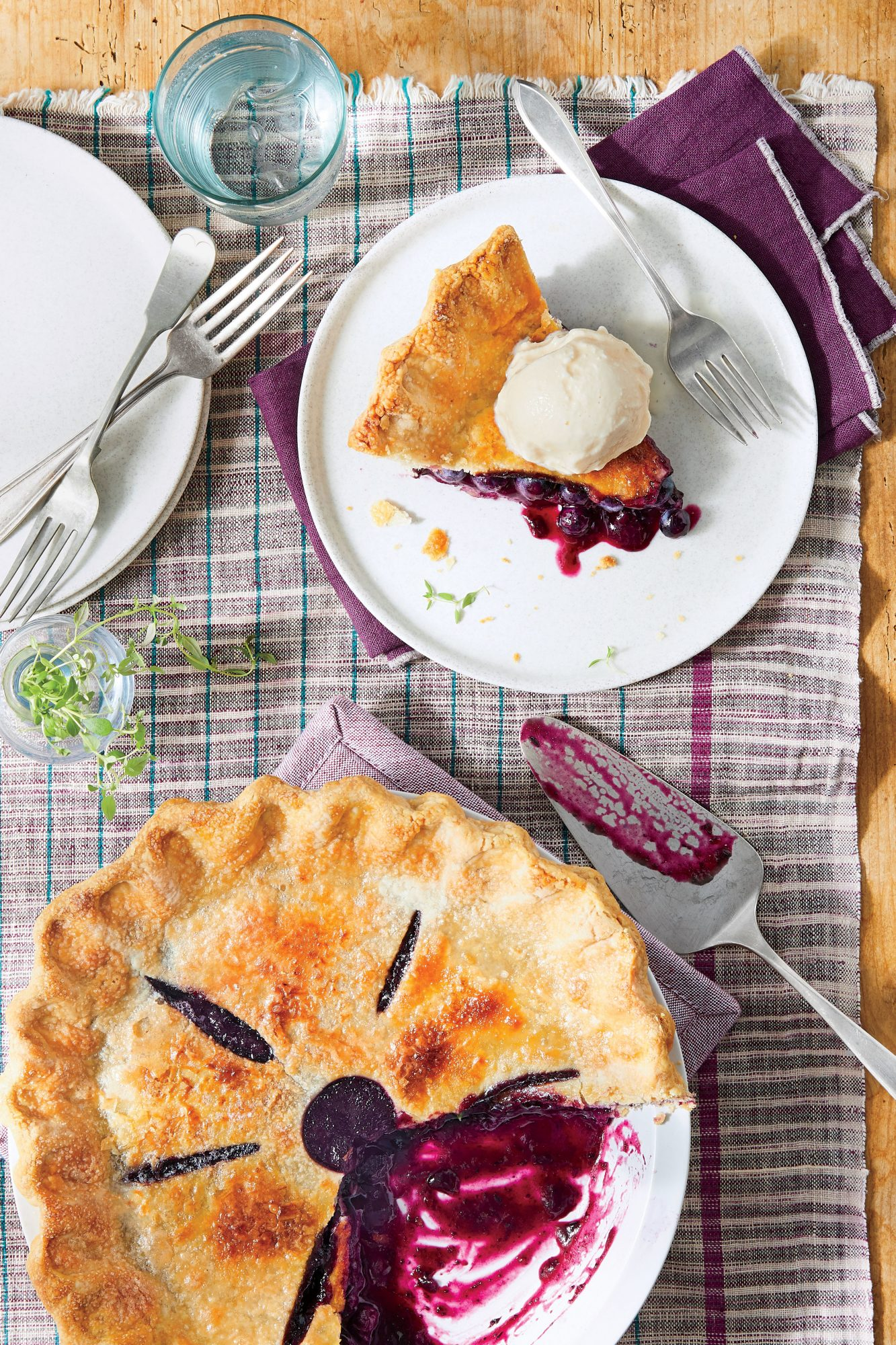 Thyme-Scented Blueberry Pie