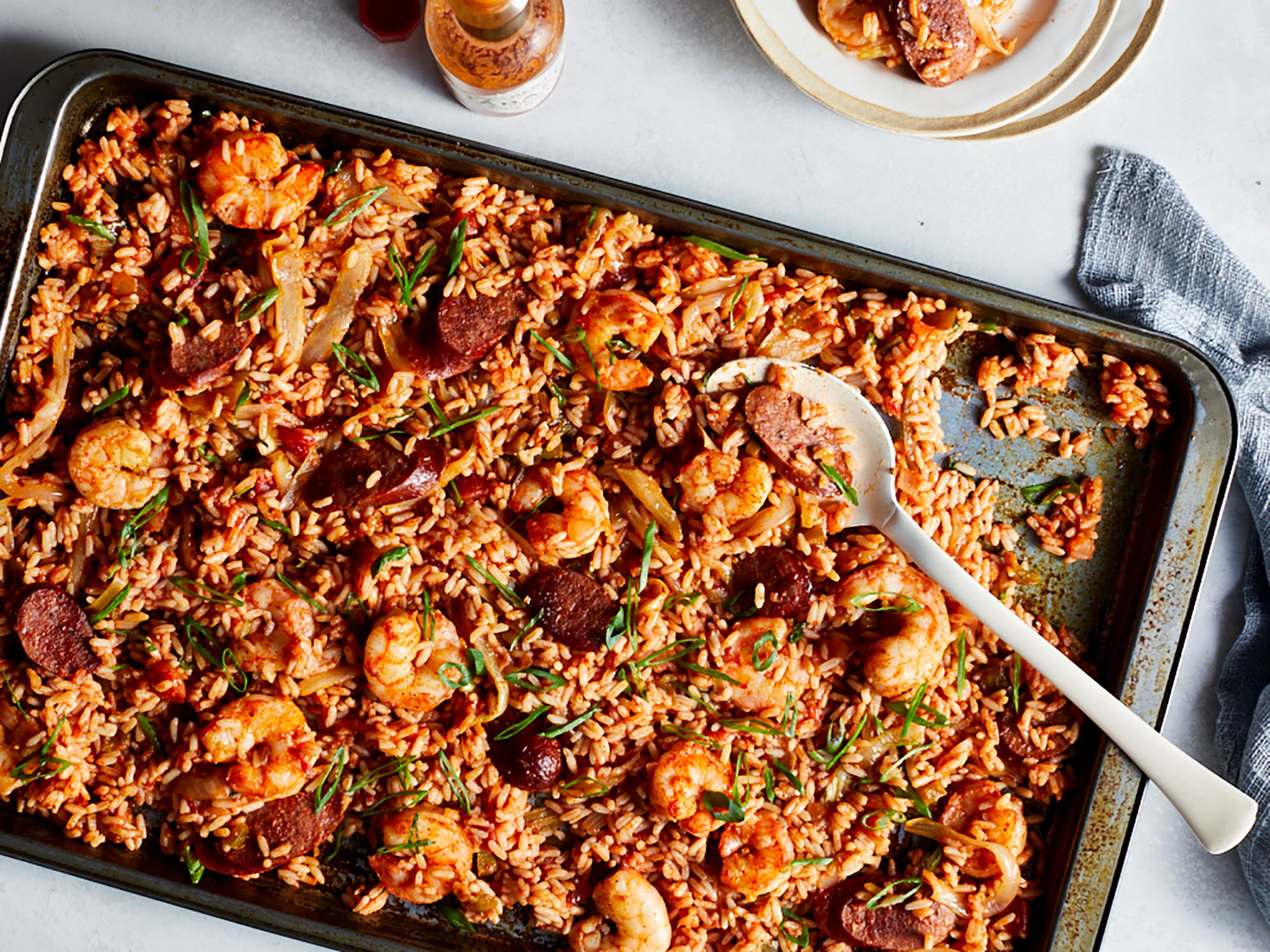 Sheet-Pan Shrimp and Sausage Jambalaya image