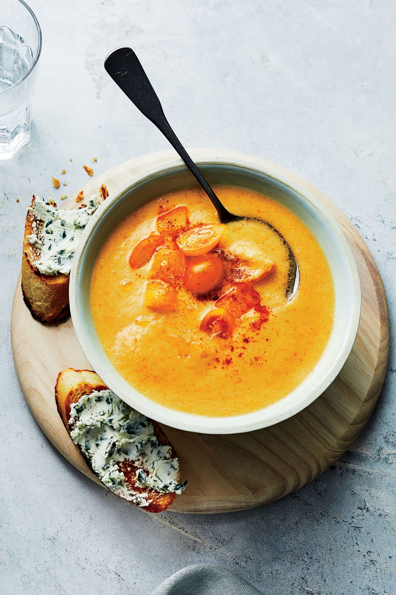Yellow Gazpacho with Herbed Goat Cheese Toasts