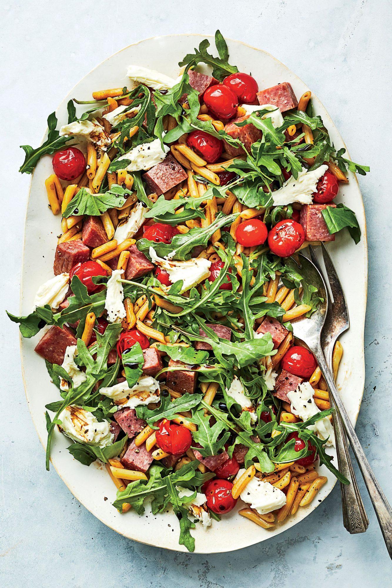 Roasted Tomato, Salami, and Mozzarella Pasta