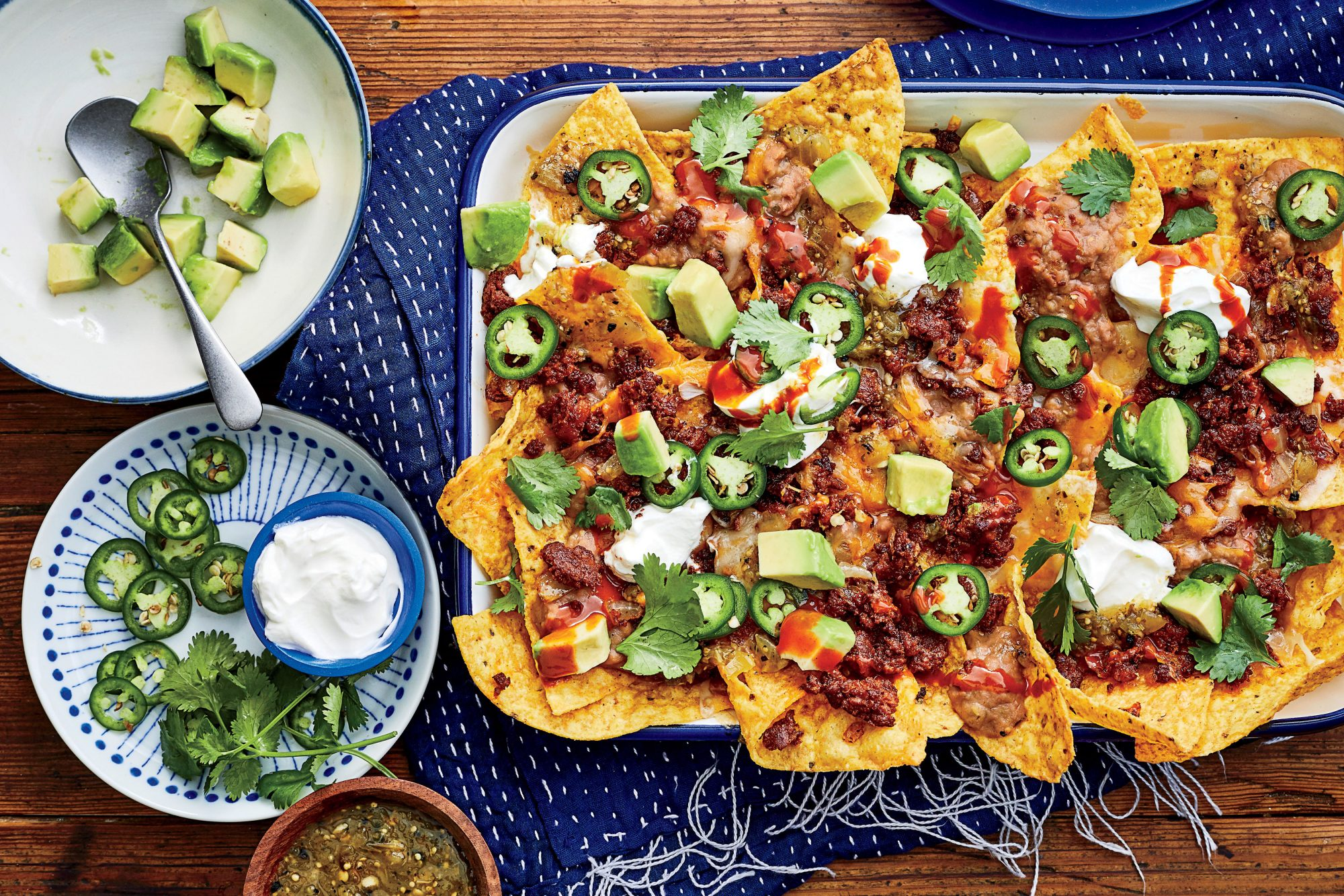 Sheet Pan Nachos with Chorizo and Refried Beans