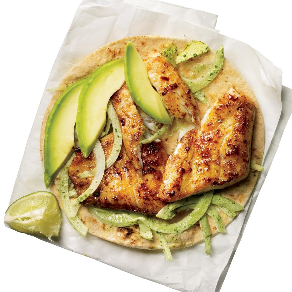 Blackened tilapia baja tacos recipe myrecipes for Tilapia fish taco recipes