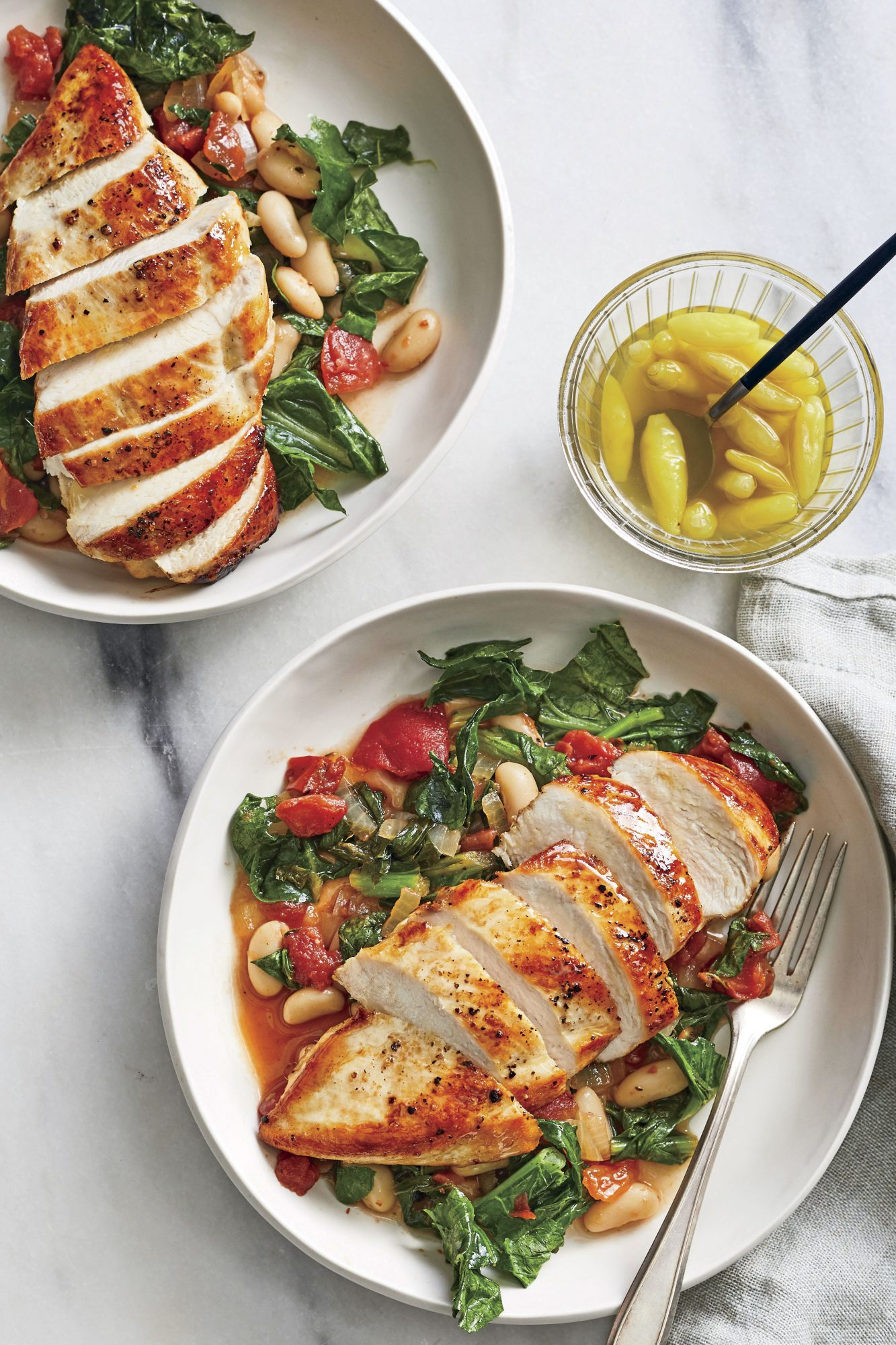 Skillet Chicken Breast with Beans and Greens