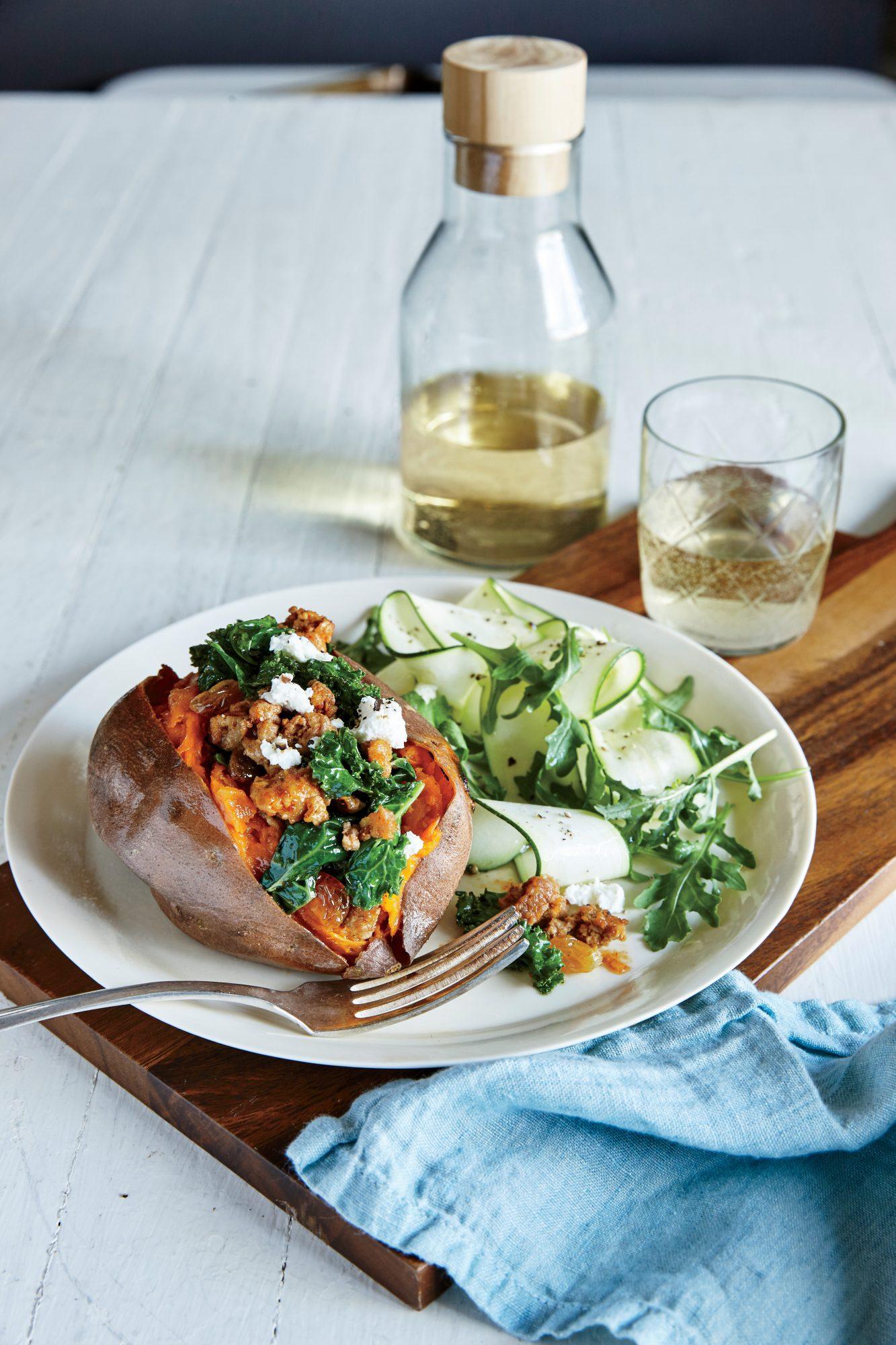 Chorizo and Kale Stuffed Sweet Potatoes with Zucchini Arugula Salad